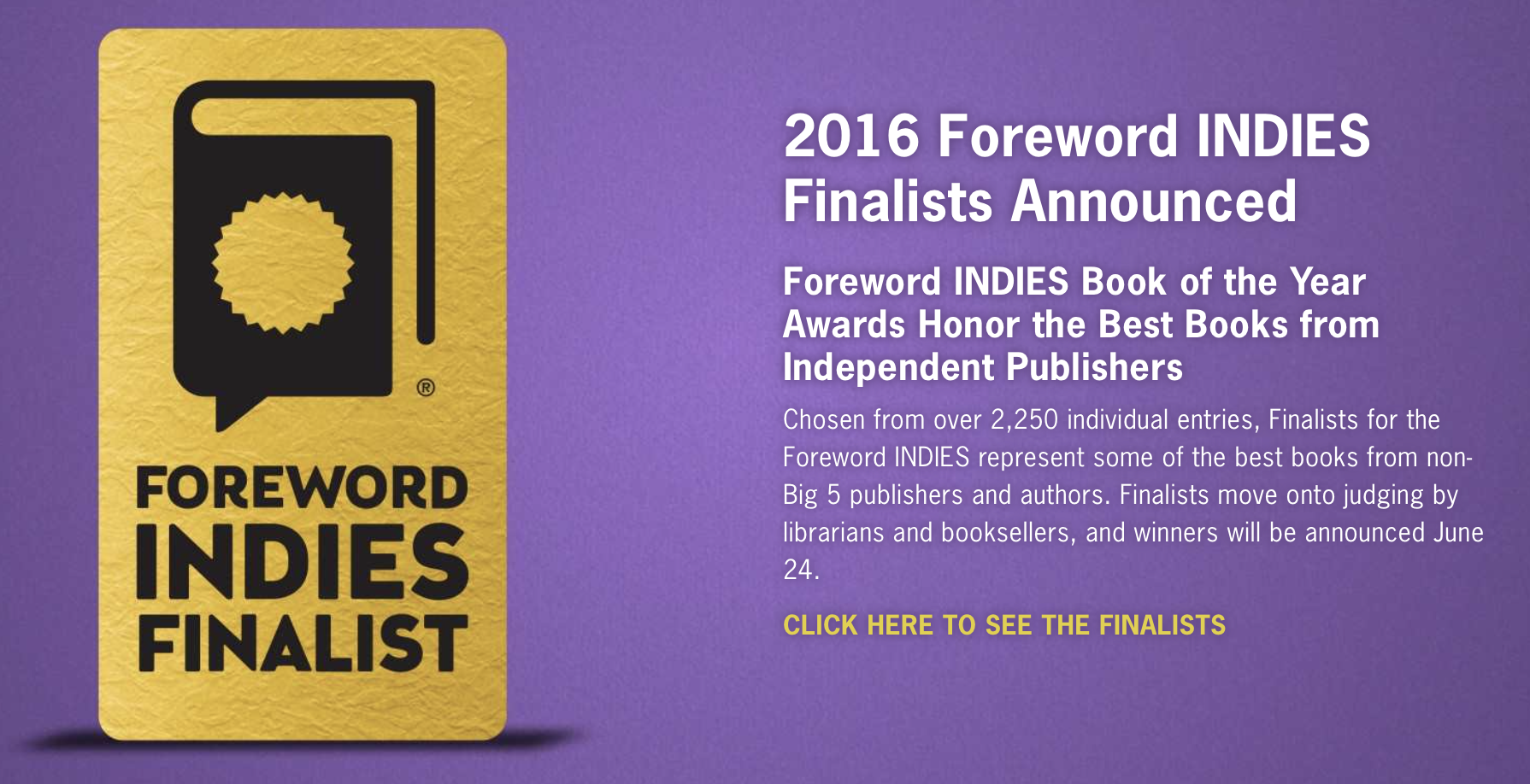 Uniting the Heavens  was selected as a  2016 Foreword INDIES finalist  in the category of Adult Fantasy.