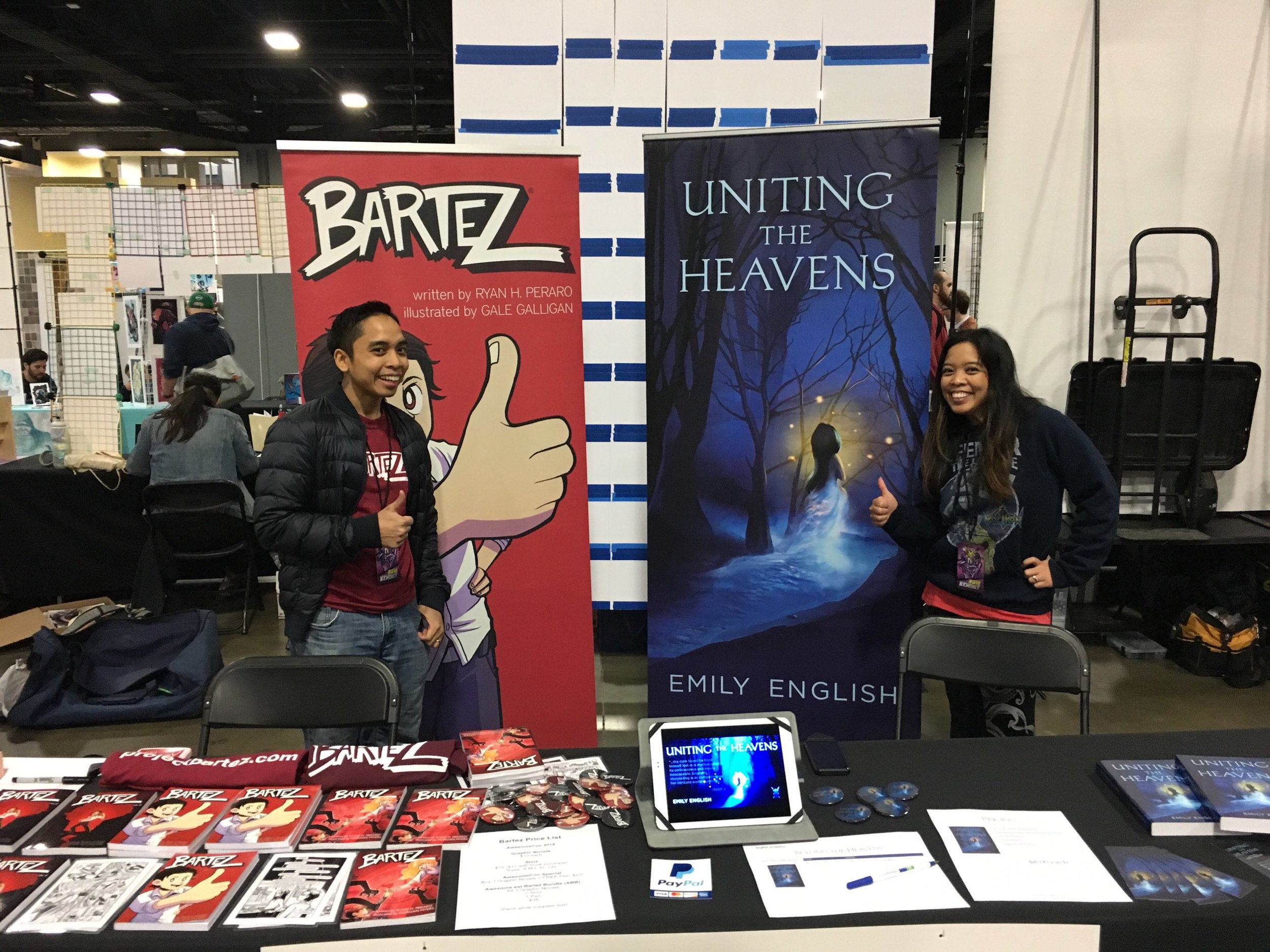 My brother and me cheesing it up at Awesome Con (before my eye bleeding). Come see us at VA Comicon!