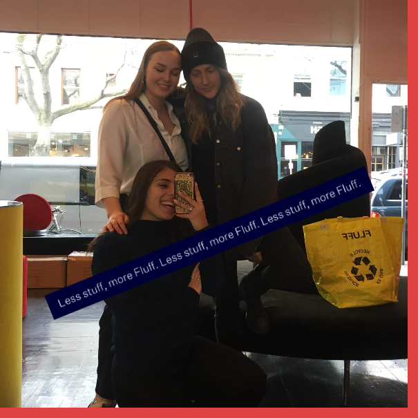 Pictured from the left: Ruby Staley, Erika Geraerts, Christina Karras (front) in Fluff's showroom in Melbourne. Edited on  itsallfluff.com  Interactive Photo Booth.