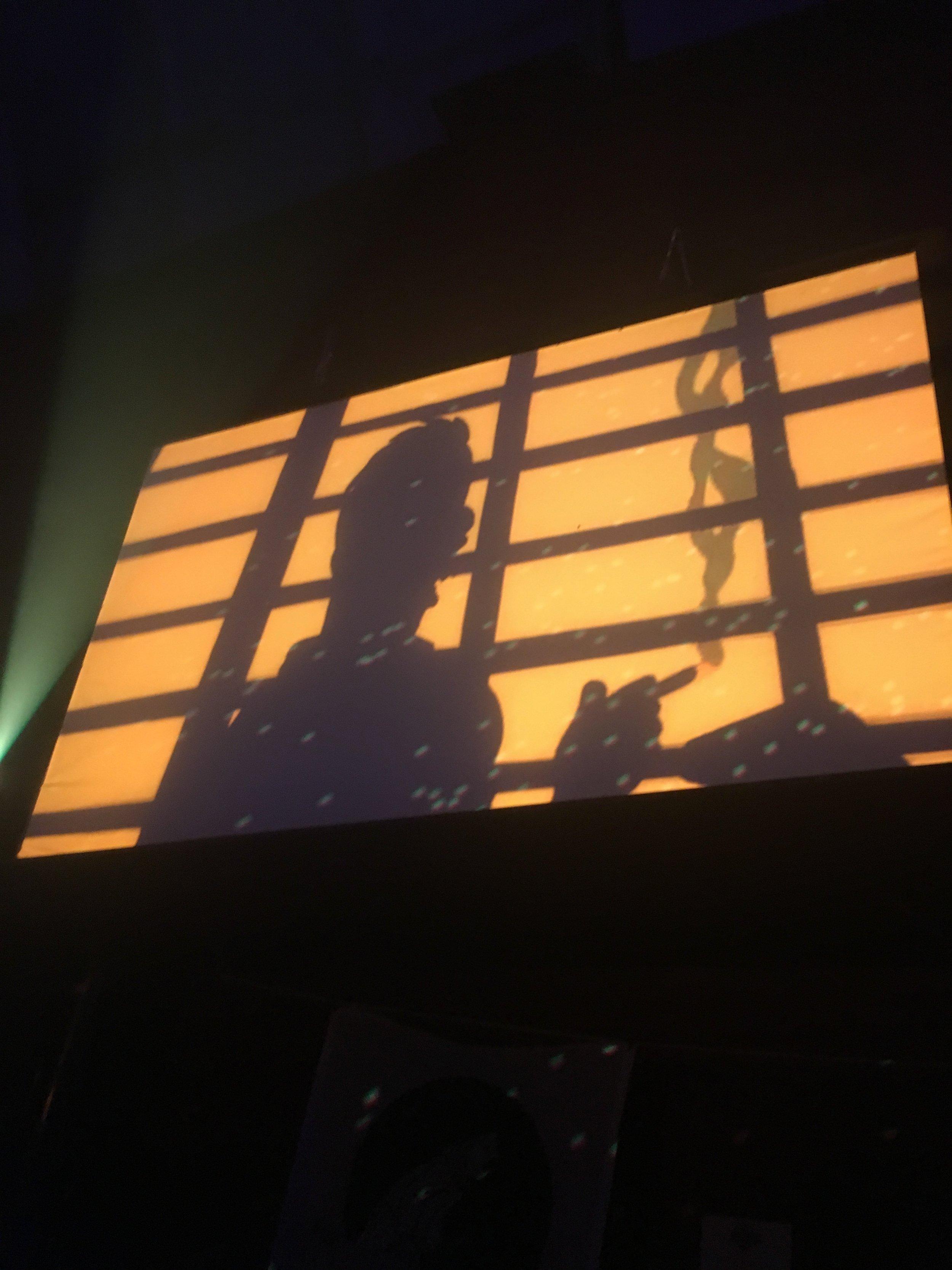 Tintin visuals play on the big screen, Photo: Christina Karras