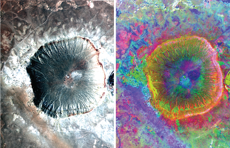 Meteor Crater in Arizona is one of the youngest and best preserved impact craters on Earth. Here you see two images obtained by the AVIRIS instrument. The left one shows a false colour image that is similar to what your eye would see. The right one is a principal component image processed to emphasize mineralogical differences.