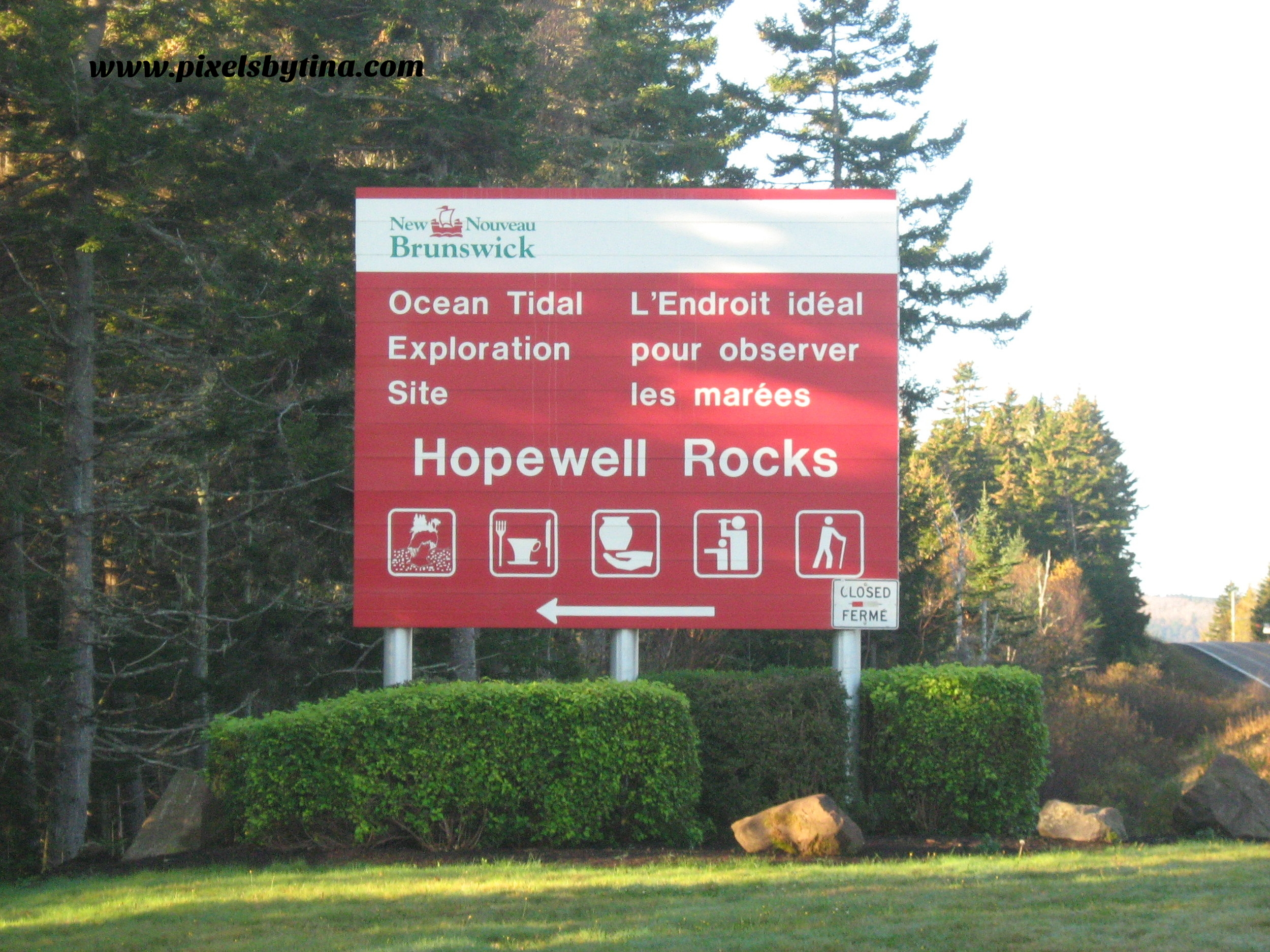 entrance sign to hopewell rocks, new brunswick, canada - nature photography & lifestyle blog - pixels by tina