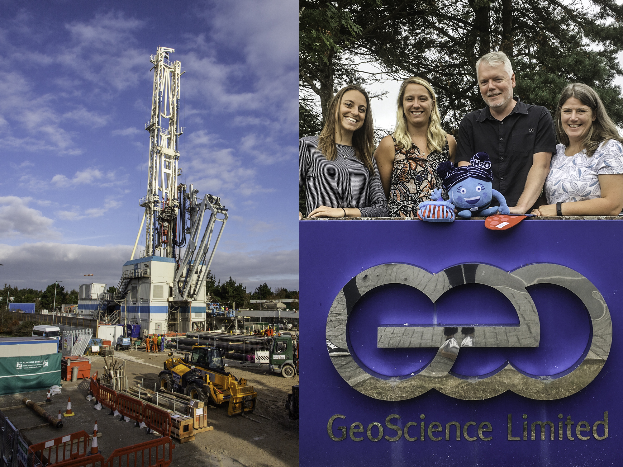 Drilling commences on site and Miss Molecule poses with the team from Geoscience and Studio Wallop.