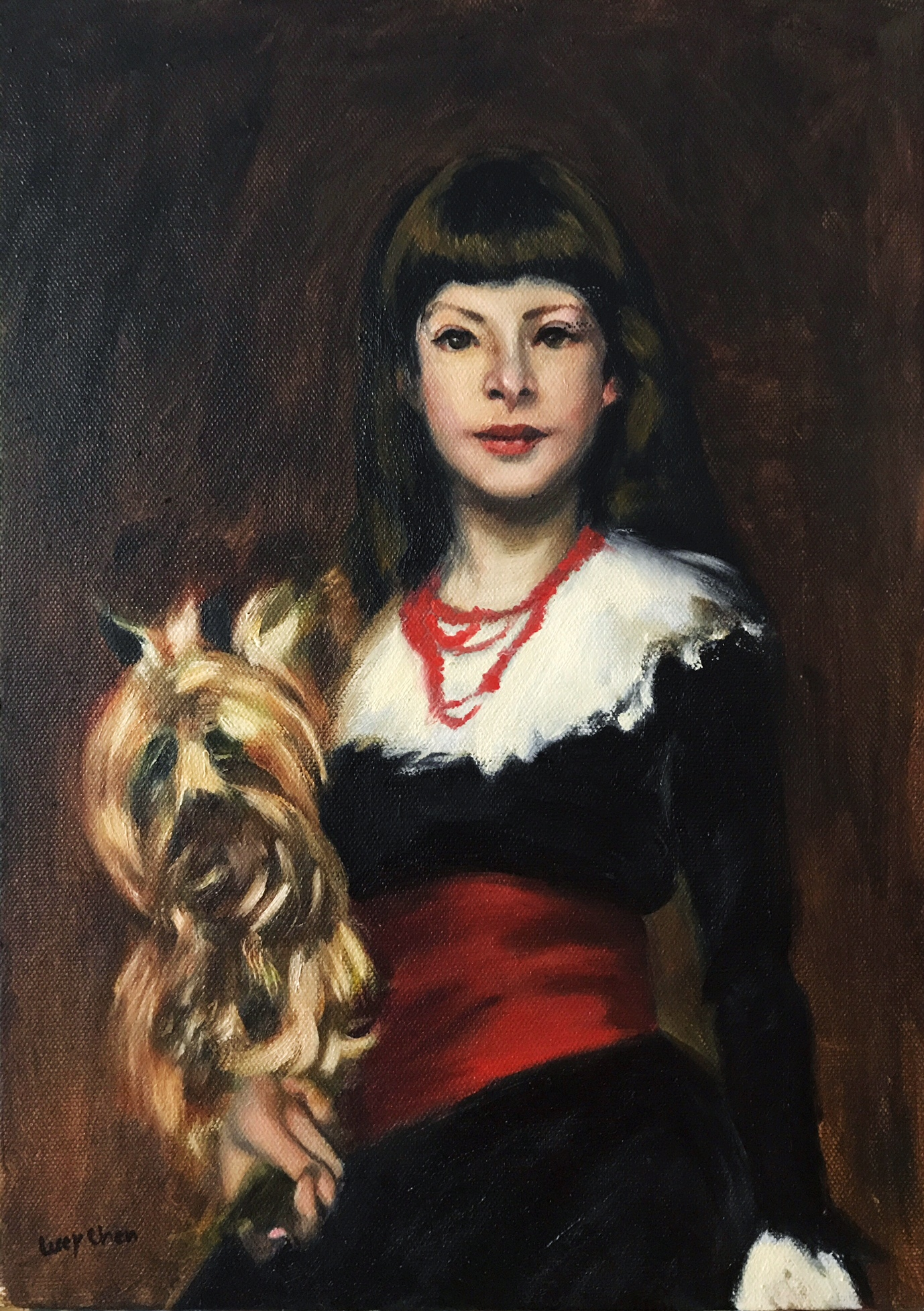 """SARGENT'S BEATRICE (Study of a Sargent painting), oil on stretched canvas, 14""""x10"""". SOLD"""