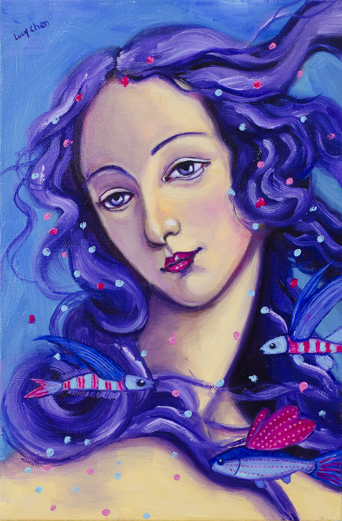 VENUS AND HER FLYING FISH, oil on stretched canvas,by Lucy Chen. Original Sold.