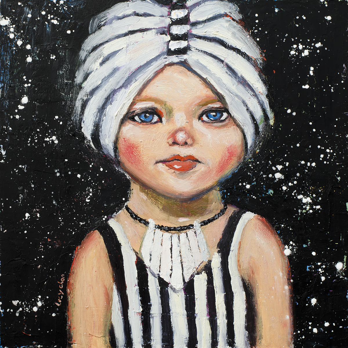 """AMY, 12""""x12"""", oil and cold wax on cradled wood panel, ready to hang, by Lucy Chen.  Original is available in my store ."""