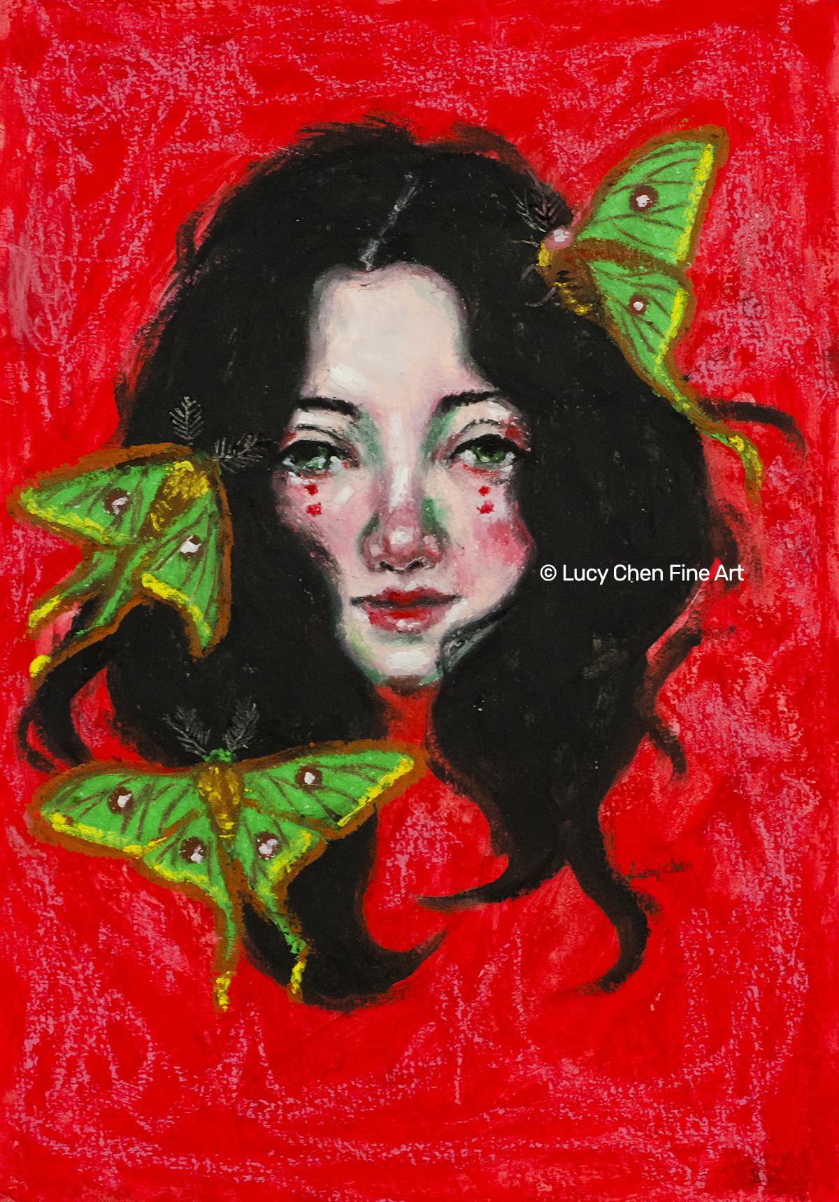 "SCARLETT, 8""x12"", oil pastel on paper, by Lucy Chen."