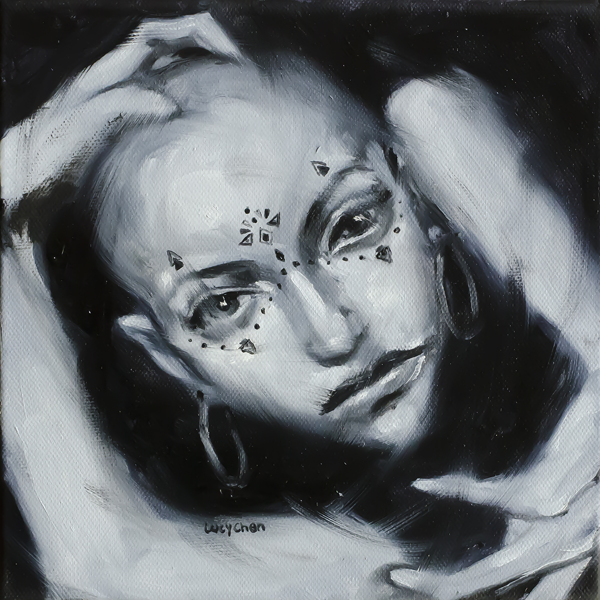 """I AM THE TREASURE YOU SEEK, by Lucy Chen, 8""""x8"""", oil on stretched canvas. SOLD."""