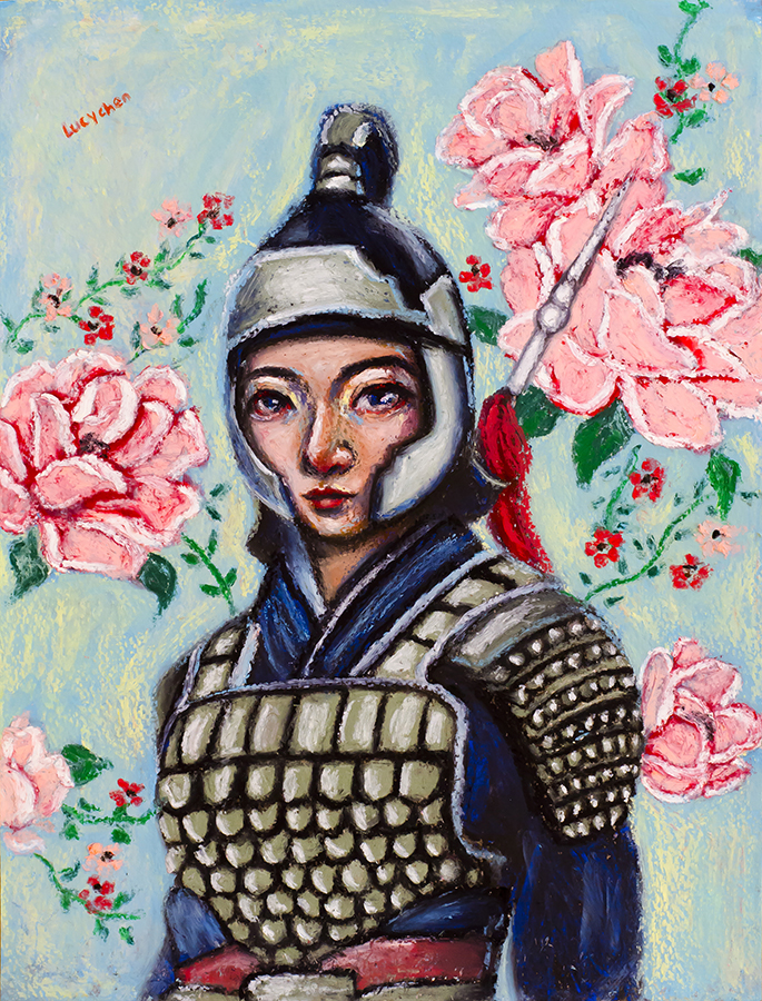 MULAN, oil pastel on paper, by Lucy Chen.