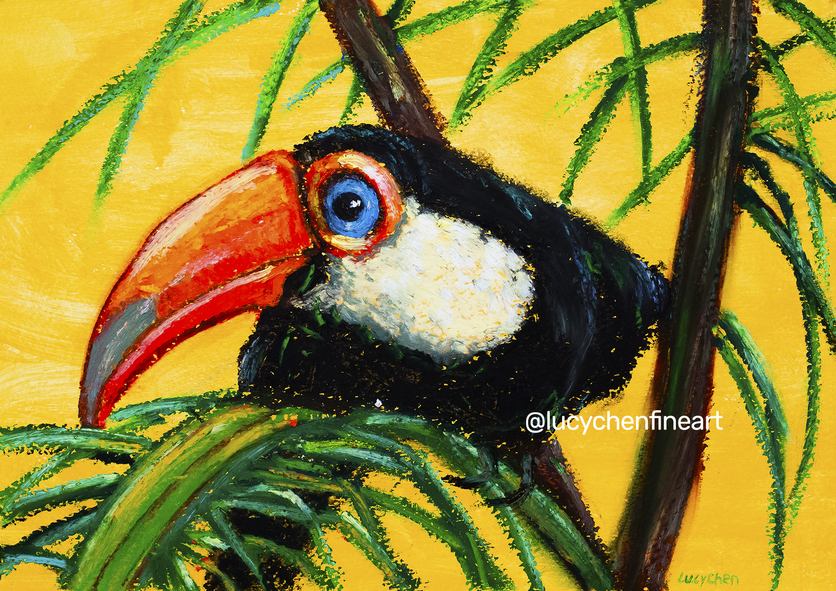 WHIMSICAL TOUCAN, by Lucy Chen, oil pastel on primed watercolor paper. Original available.