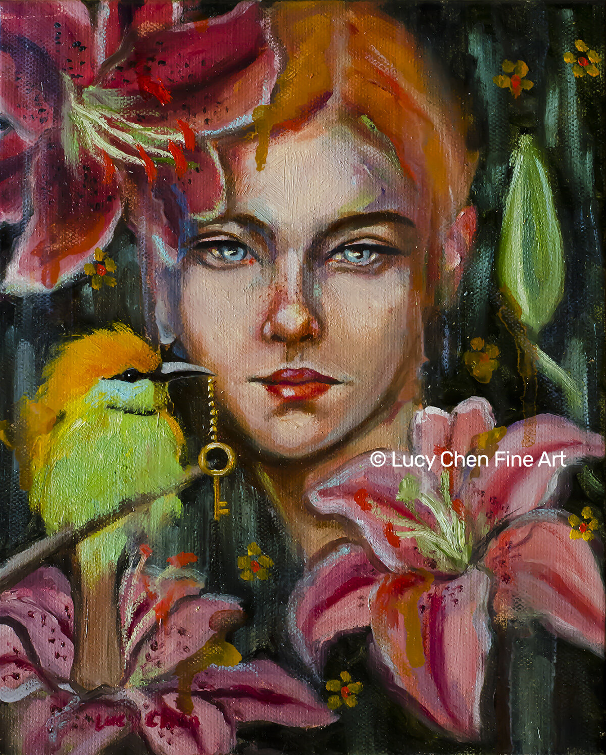 THE KEY TO HER GARDEN, by Lucy Chen, oil pastel stretched canvas. Original SOLD.  Prints available in my store .
