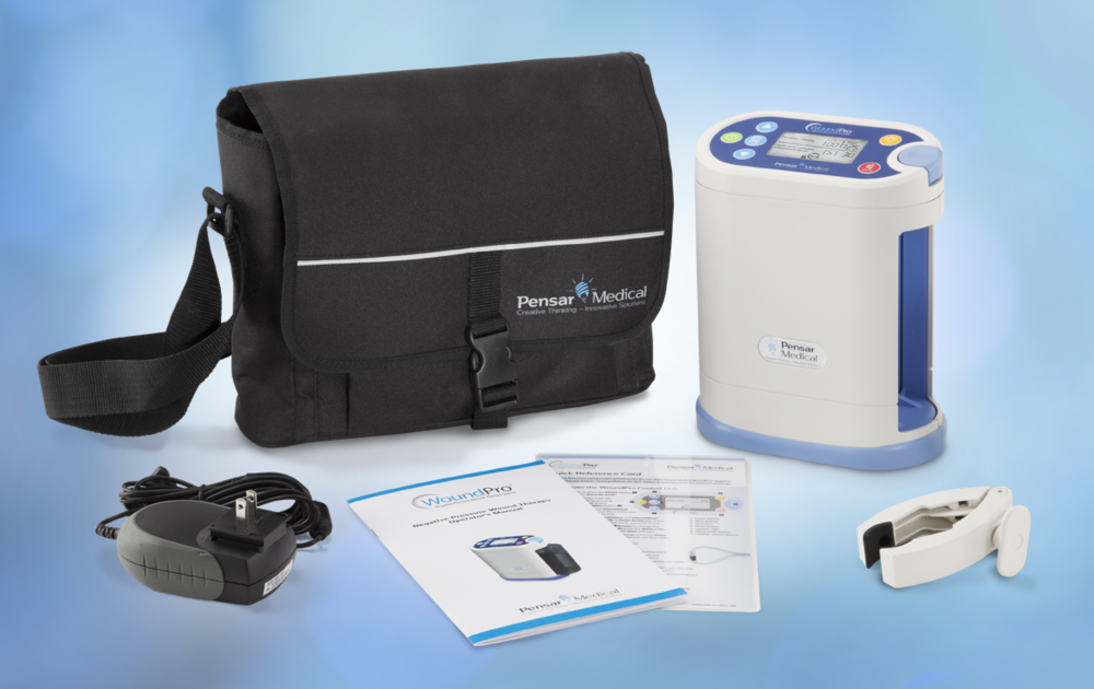 The Pensar Medical WoundPro wound vac unit with manual and carrying case