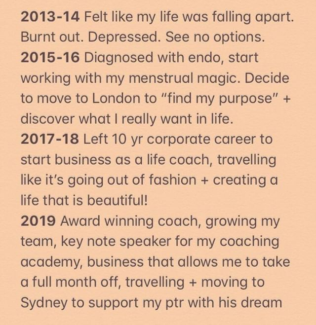"""Looking at this above timeline is SO INSPIRING! 🙌🏼💫🙌🏼 To see how quickly we can turn things around (my personal rock bottom) & make massive shifts when we commit! 🎉🎉🎉 3 years ago I thought I was starting from square 1 on my new career 😆 & couldn't bear the thought of leaving behind something I'd invested 10 years into. 😱 3 years later and it's the best thing I ever did!! 🤩🤩🤩 Like, can you imagine me NOT doing this work?! I can't! Not that I'm marrying my job title - BUT WOW. My life felt so crappy in 2013/2014 & I didn't realise just how bad it was until about 2017. This is how it works! We think """"oh it's just a bit of dissatisfaction"""", I feel """"lost"""" """"confused"""" """"numb"""" — OR it's your soul trying to wake you the F up! """"Hello, Leticia are you listening?! This is not for you."""" 🧚🏻♂ I'm so grateful for my personal rock bottom - because I woke up from the """"dream"""" and intentionally created one I LOVE instead. Life is so good. Life is beautiful! And I created this and SO CAN YOU. Listen to your emotions my loves. Listen. Just listen. Change is happening 💗💗💗💗  — ps Discover Your Purpose my group coaching program starts on 23 September! Want in?! Come join us! Enrolment open for 1 more week! 🌈🙌🏼😀       #createalifethatisbeautiful #byca #careerchange #lawyerlife #findmypurpose #lifecoach #intuition #empoweredwoman #womenshealth #holisticcoach #makeadifference #personaldevelopment #selflove #rockbottom #burnout"""