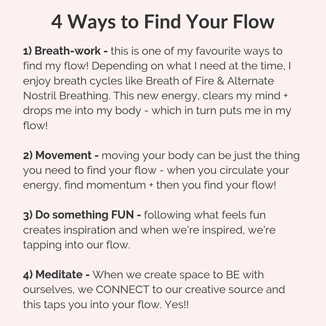Notice that everything on this list helps you leave the mind and connect to the body in some way. Breathwork, meditation, movement are obvious ones. But doing something fun also connects you to your body because it asks you to connect with your emotions - and all emotions are physical sensations. � � When we connect to the body, we leave the mind + this connects us to something that feels far greater and suddenly we are beyond thinking and in… our … flow! 🌊🌊🌊� � Now as I was explaining to one of my clients last night, if fun feels far away for you - start with curiosity - curiosity is an emotion we can all connect with (but usually ignore) and when we start following through on our curiosity, you'll find yourself arriving in places that you never could have thought up! Curiosity always leads to fun! 😄� � Flow is a state we can all tap into - it's all about embracing your feminine energy! 💕� � � � � � � #empoweredwomen #womxn #holisticcoach #createalifethatisbeautiful #embraceyourfeminineessence #intuition #divinefeminineenergy #feminineenergy #flow#personaldevelopment  #makeadifference� #liveyourpurpose #bossbabemovement #fempreneur #bycacademy #lifecoach� �