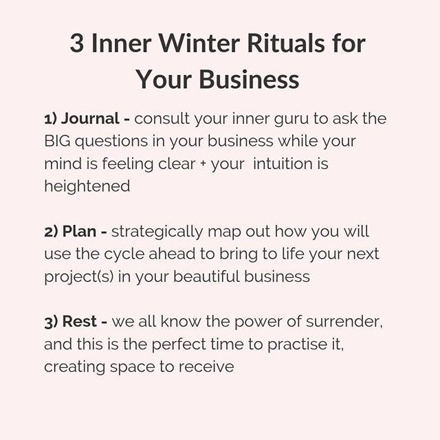 Inner Winter is my MOST productive season for my business. It's when I lay all the groundwork for the month ahead. Even though my energy is low, I'm most connected to my intuition, my mind is clear + I'm receiving guidance like it's going out of fashion! ⁣ ⁣ ❄️🤣⛄️⁣ ⁣ Here are 3 Inner Winter rituals you can enjoy to make the most of your Inner Winter in your business too! Now tell me - what's your favourite inner season for your business?! 🤔👇🏻⁣ ⁣ ⁣     P.S. Want to learn more about working with your cycle? Make sure you download my FREE Menstrual Magic Journal. Link in bio! 😘⁣ ⁣ ⁣ ⁣ ⁣ ⁣ #menstrualmagic #menstrualcycle #menstrualhealth #womenshealth #embraceyourfeminineessence #intuition #divinefeminineenergy #feminineenergy #flow #personaldevelopment  #makeadifference #liveyourpurpose #bossbabemovement #fempreneur #bycacademy #lifecoach⁣ ⁣