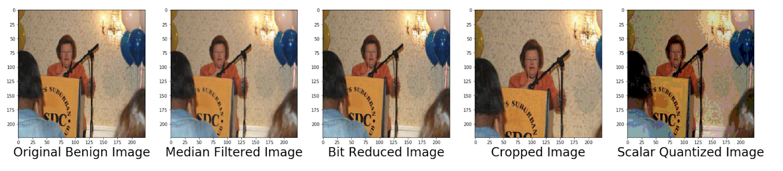 Figure 6. Original benign political image and its four image-processed versions.