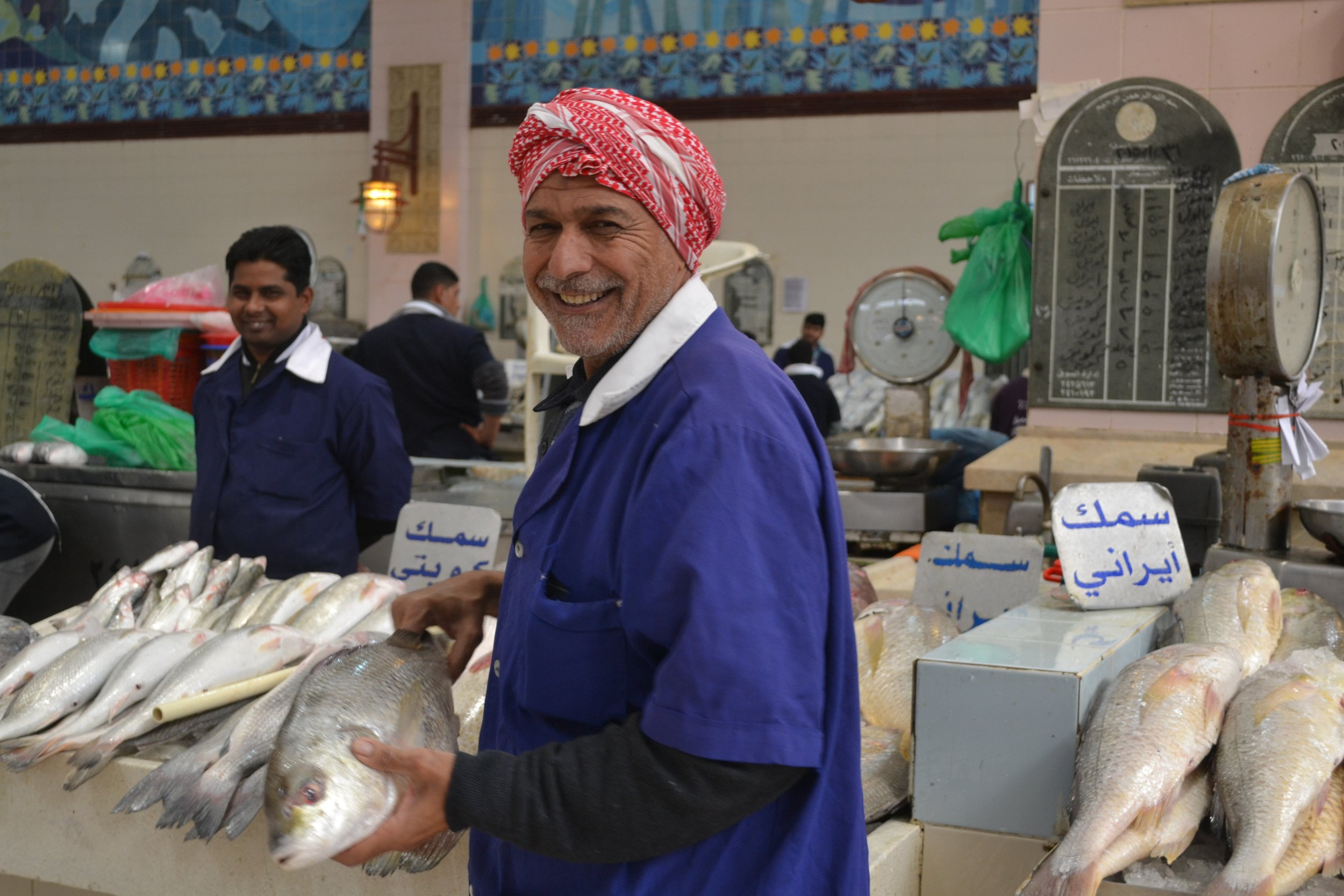 Kuwaiti fish seller in the Kuwait Fish Market