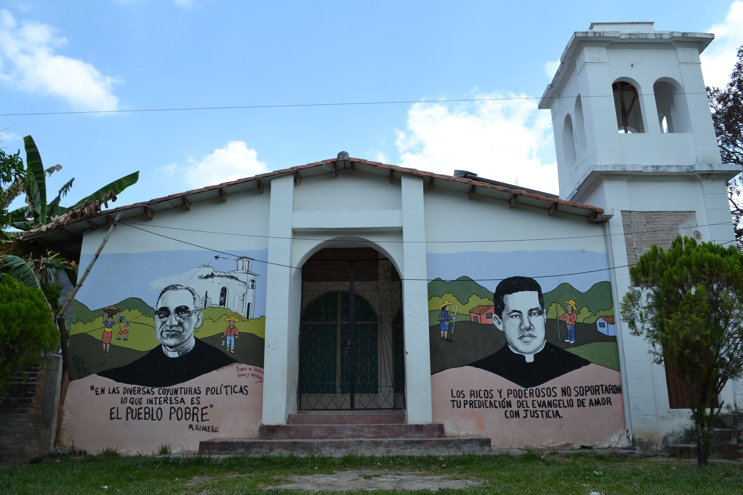 Mural of the assassinated Monsignor Oscar Romero (1917-1980) and another priest who was assassinated as well.