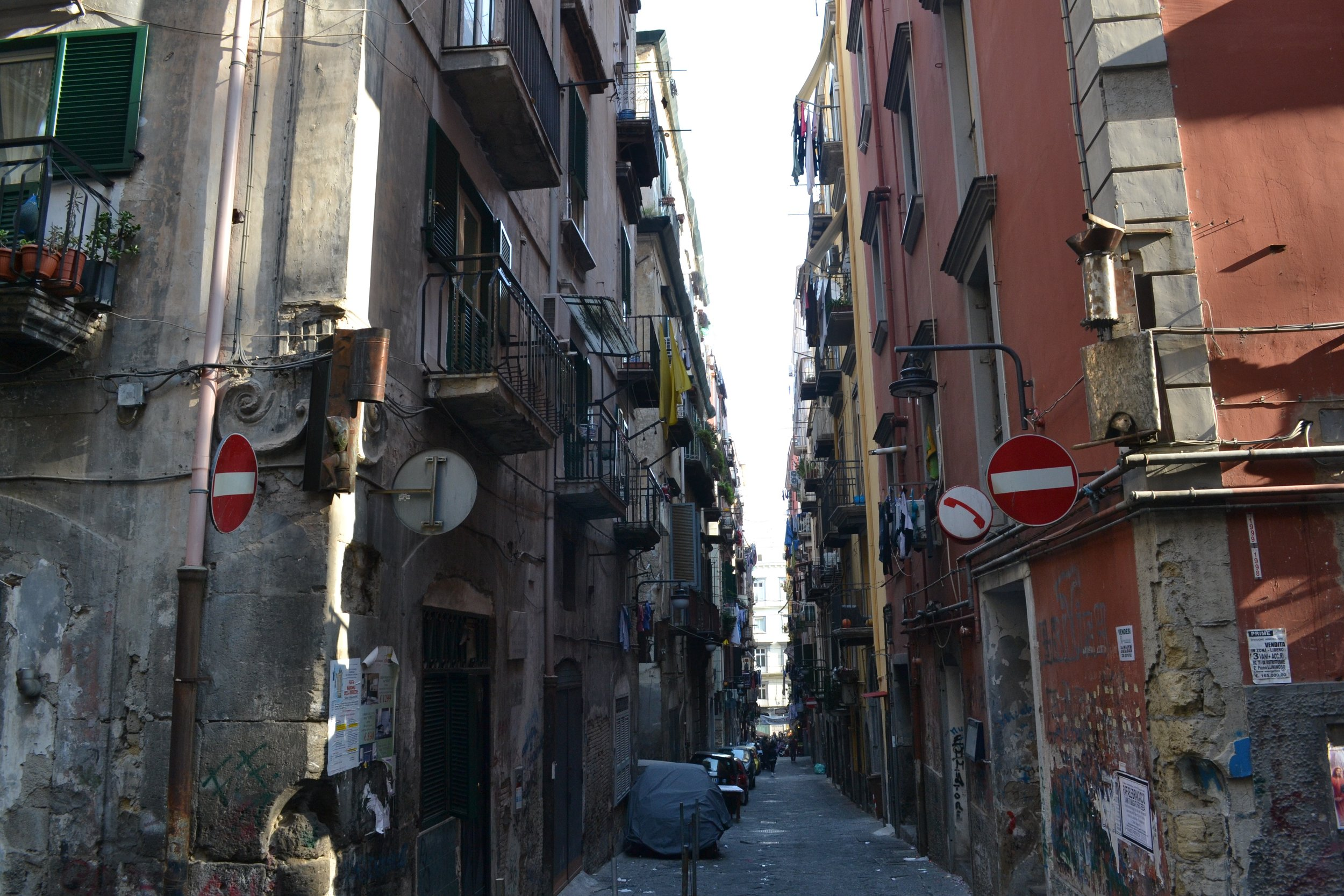 The famous grittiness of Naples is evident in the Spanish Quarter of the city