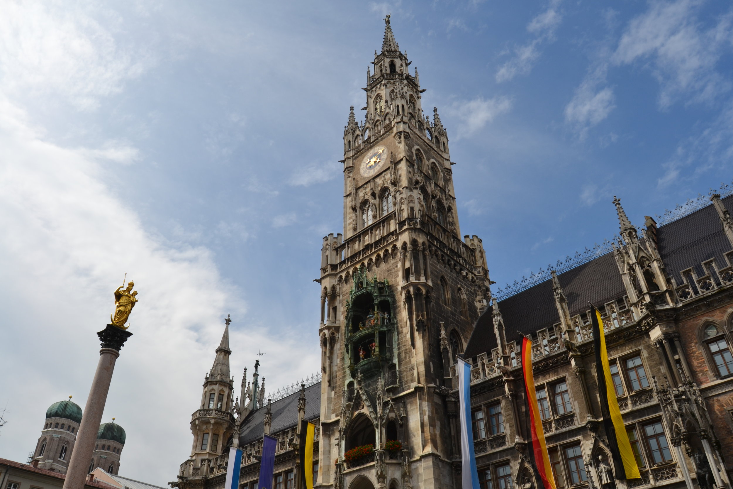 Marienplatz with the two towers of the Frauenkirche in the background.