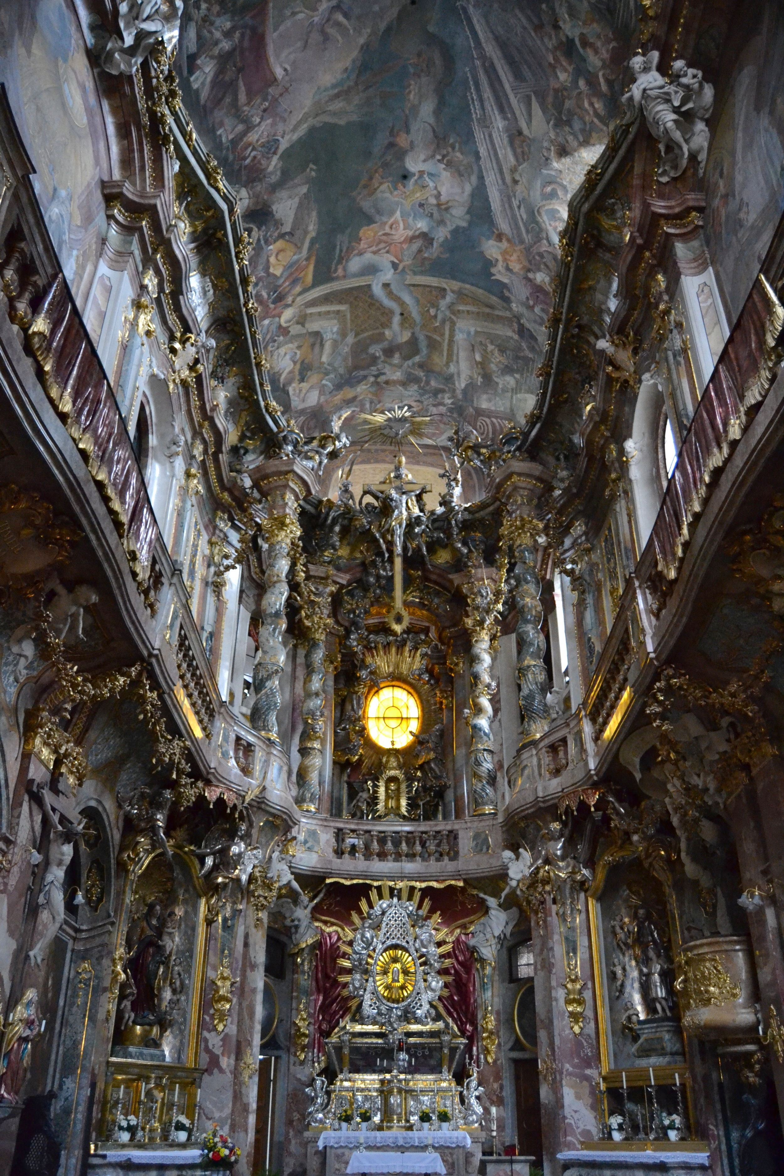 A view looking toward the altar in the Asamkirche