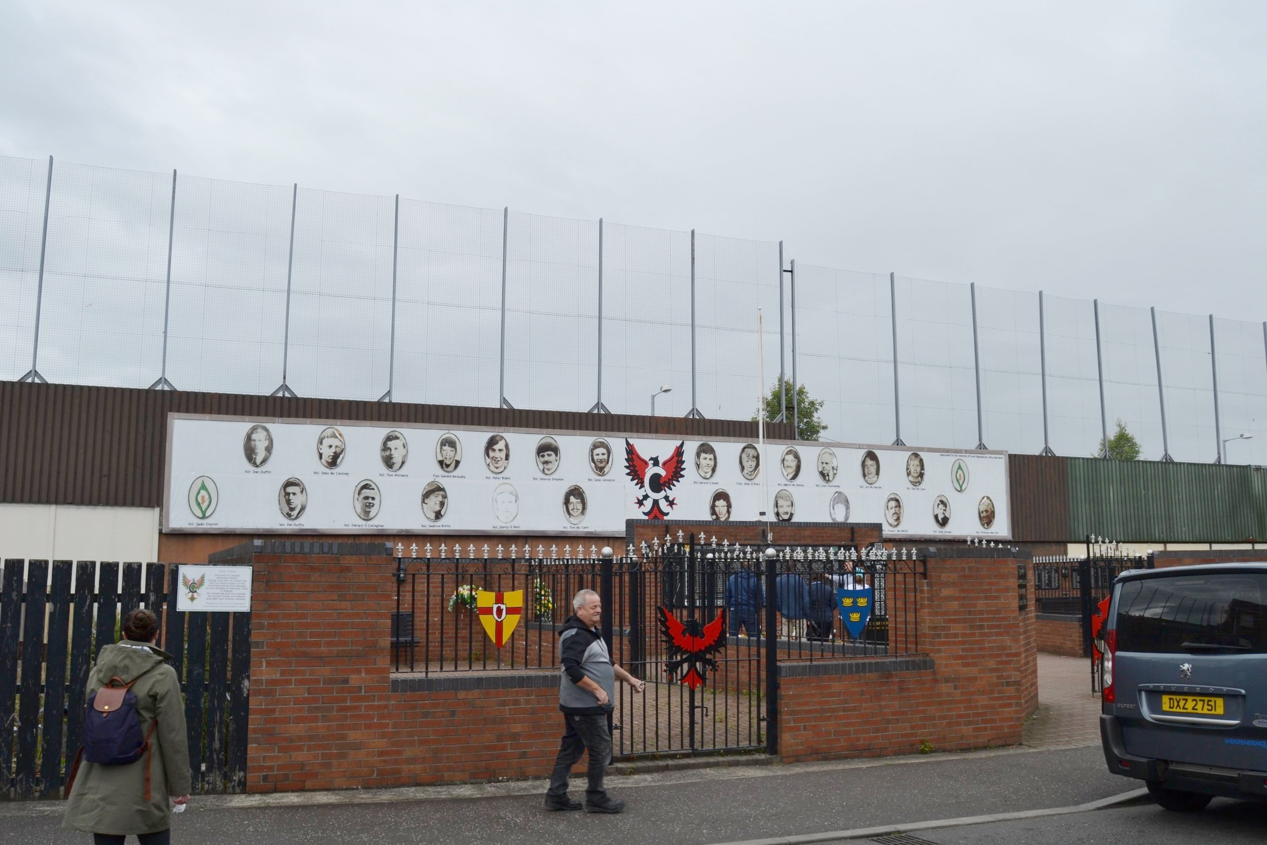 The Peace Wall separating the Catholic and Protestant side of Belfast, Ireland