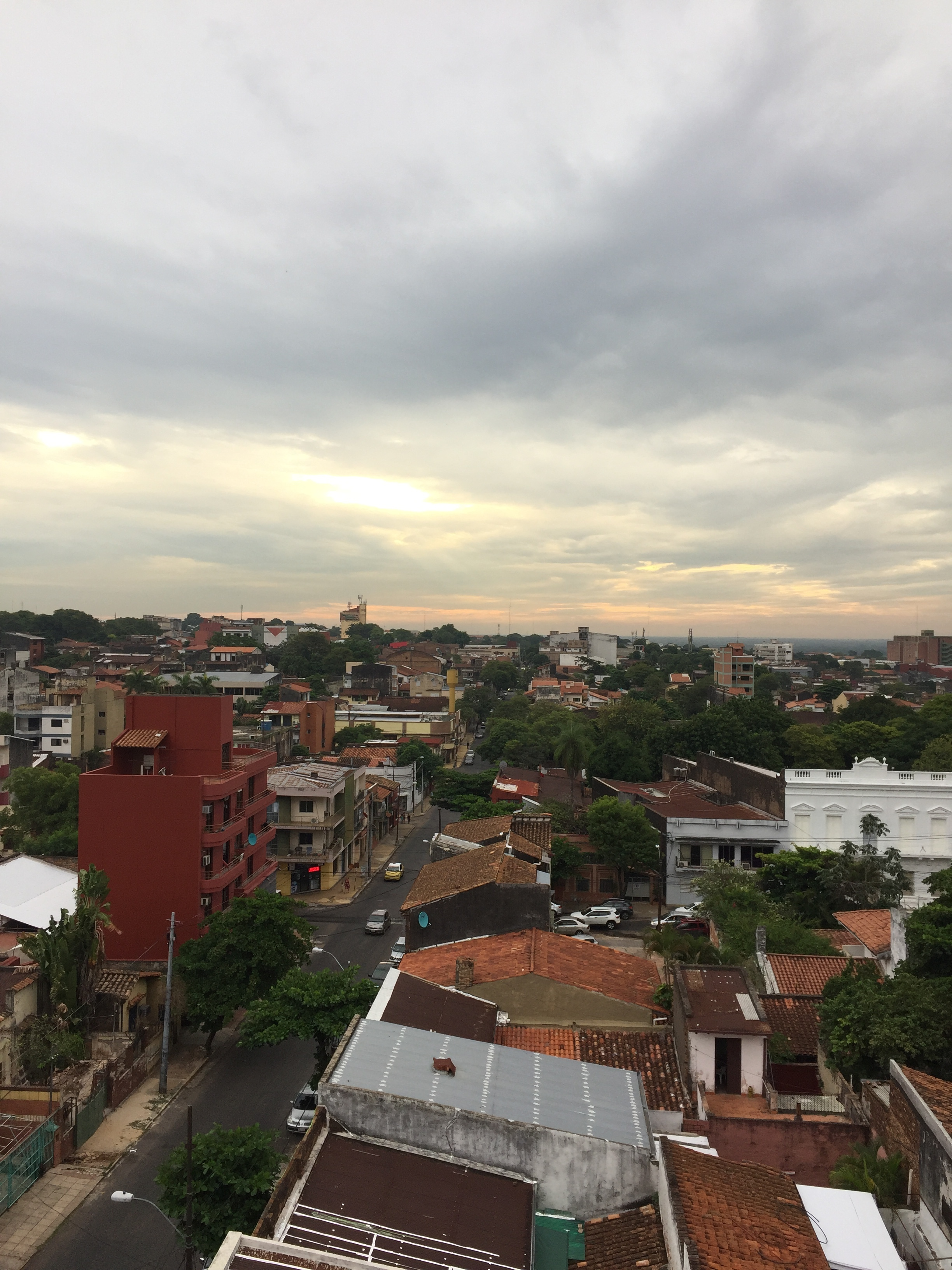 View of Asuncion in the evening after a rain shower