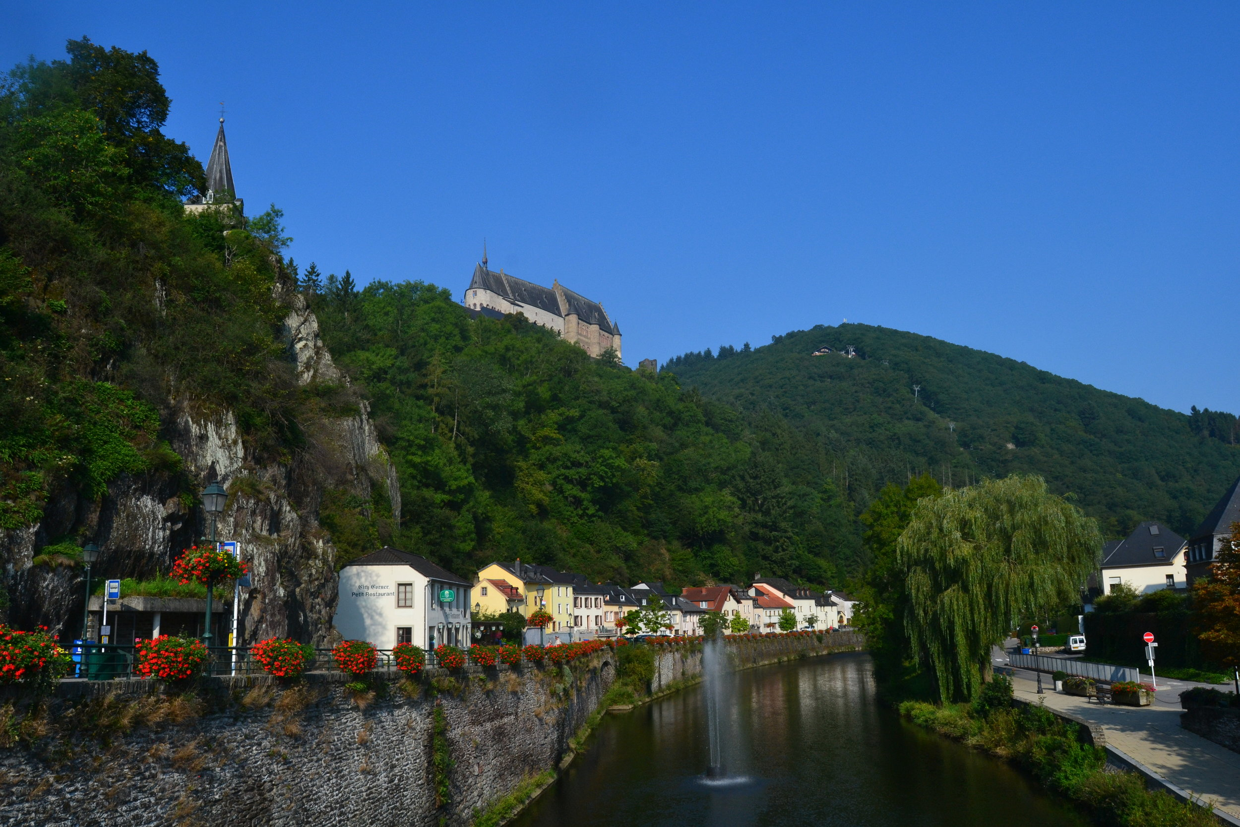 View of Vianden from the bridge in the center of town
