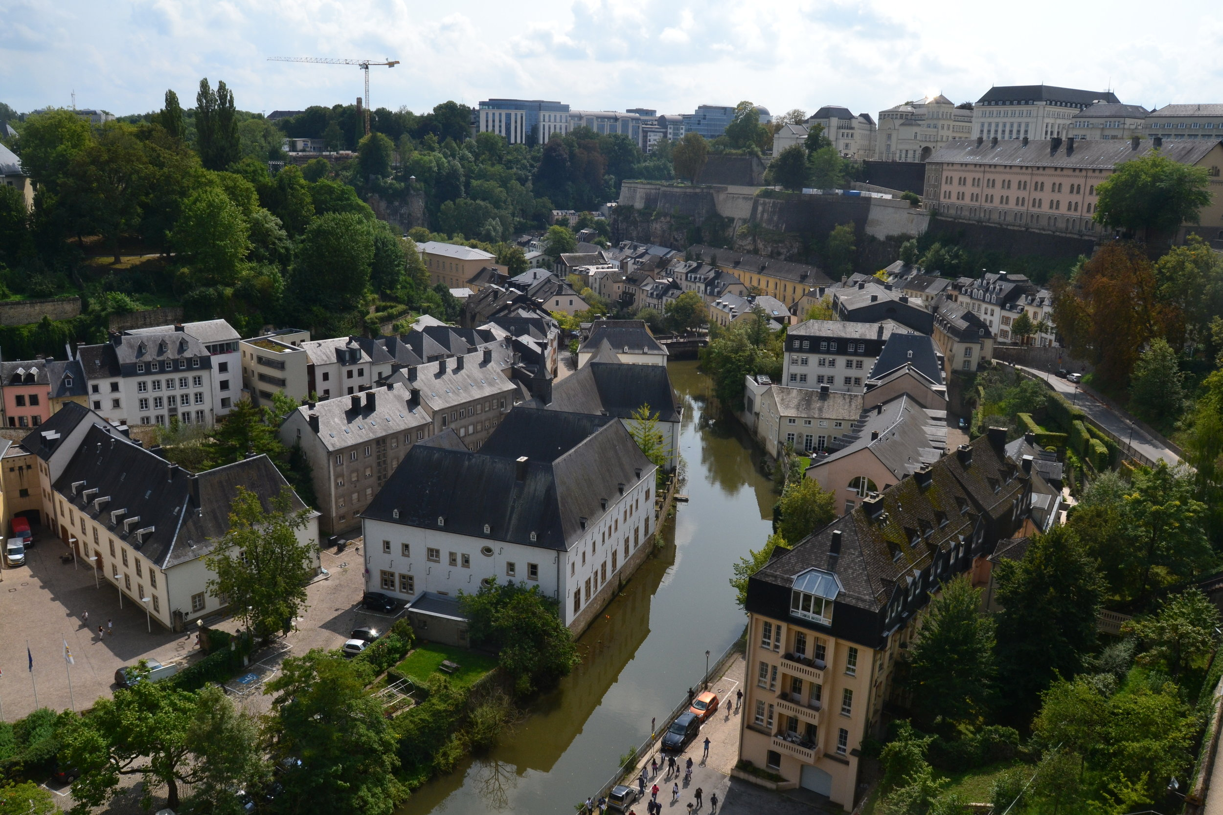 View of the Grund District in Luxembourg City looking down from Ville Haute