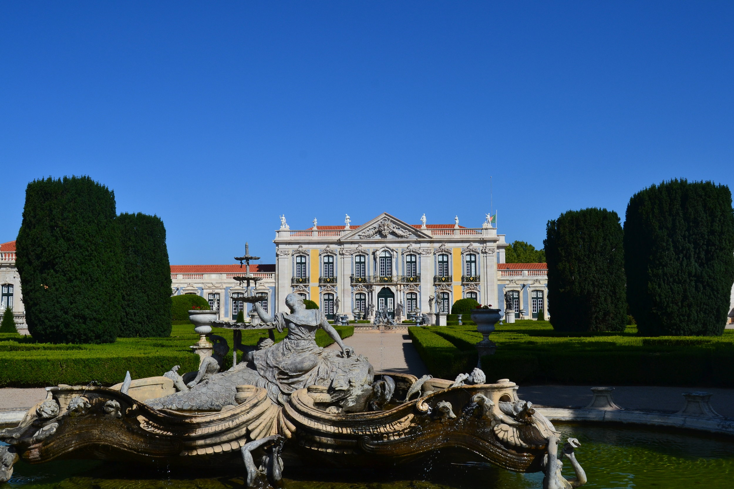 View of Queluz Palace in the morning from the gardens