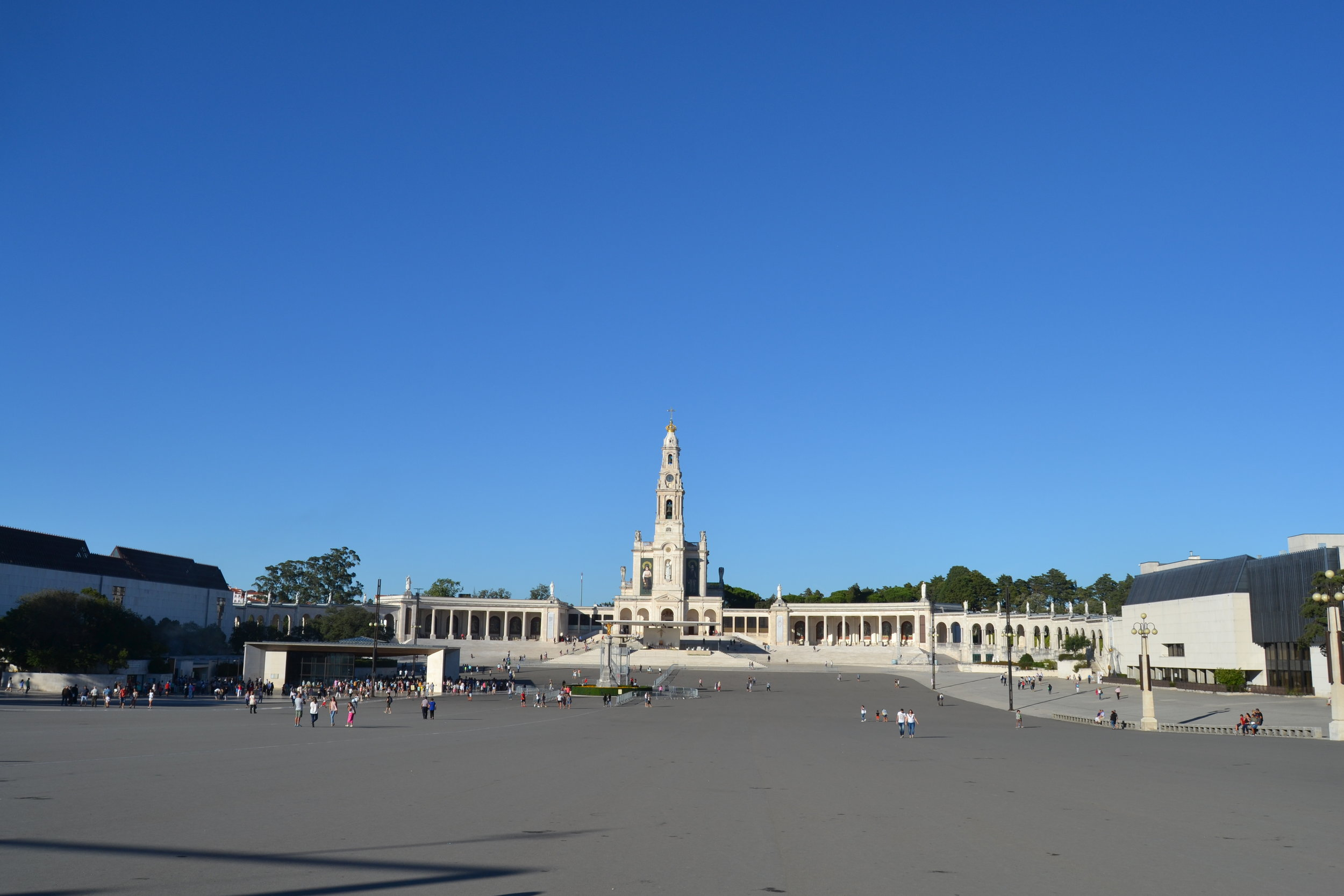 View of the Fatima pilgrimage site looking toward the basilica