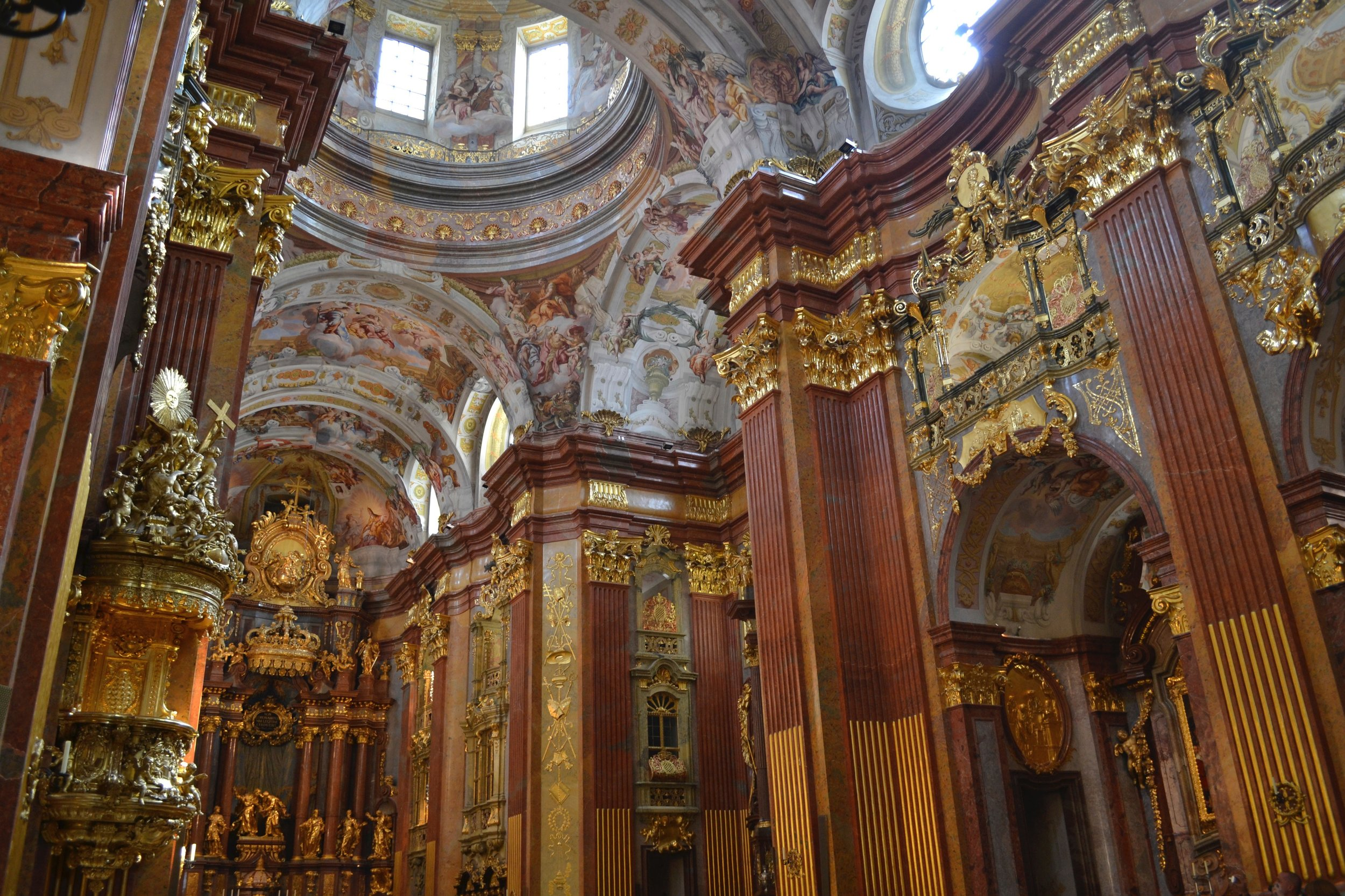 A view of the interior of Melk Abbey in Austria