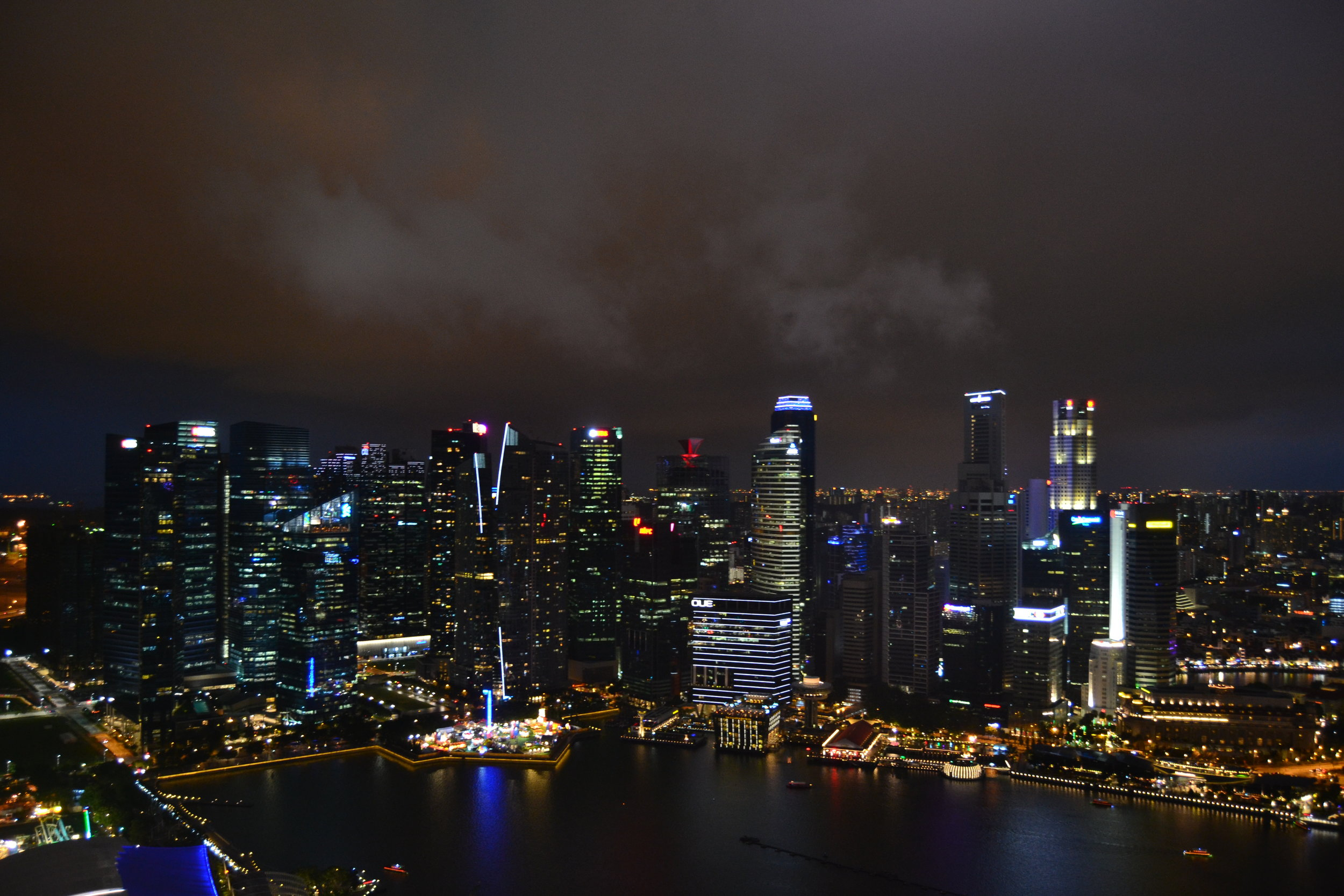 A view of downtown Singapore from the Marina Bay Sands Observation Deck