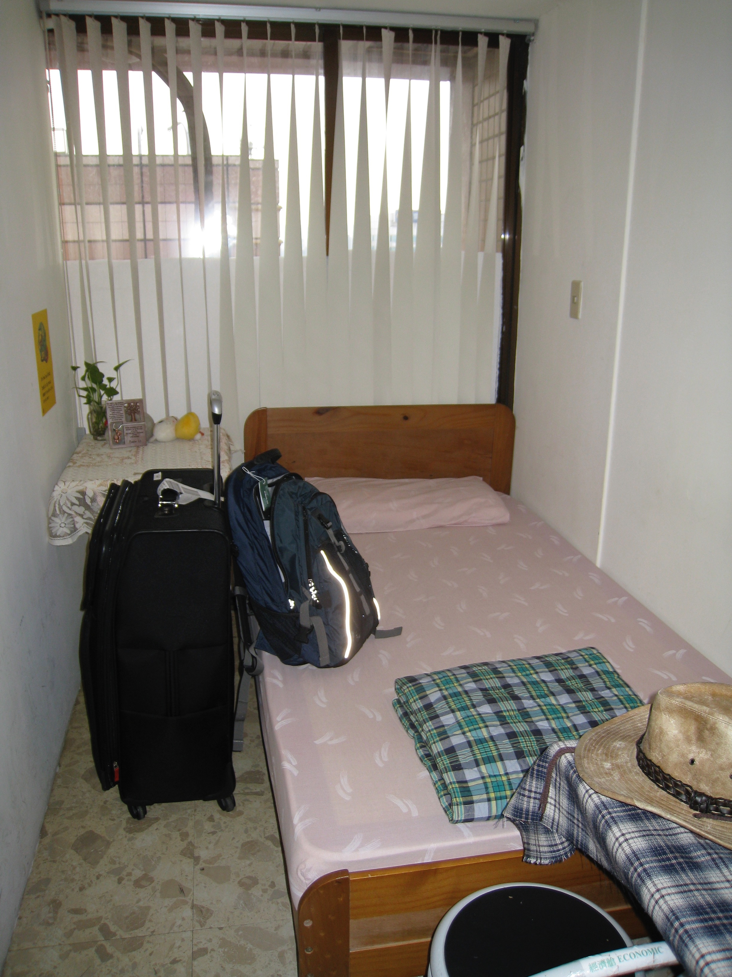 My room in the hostel in Taiwan