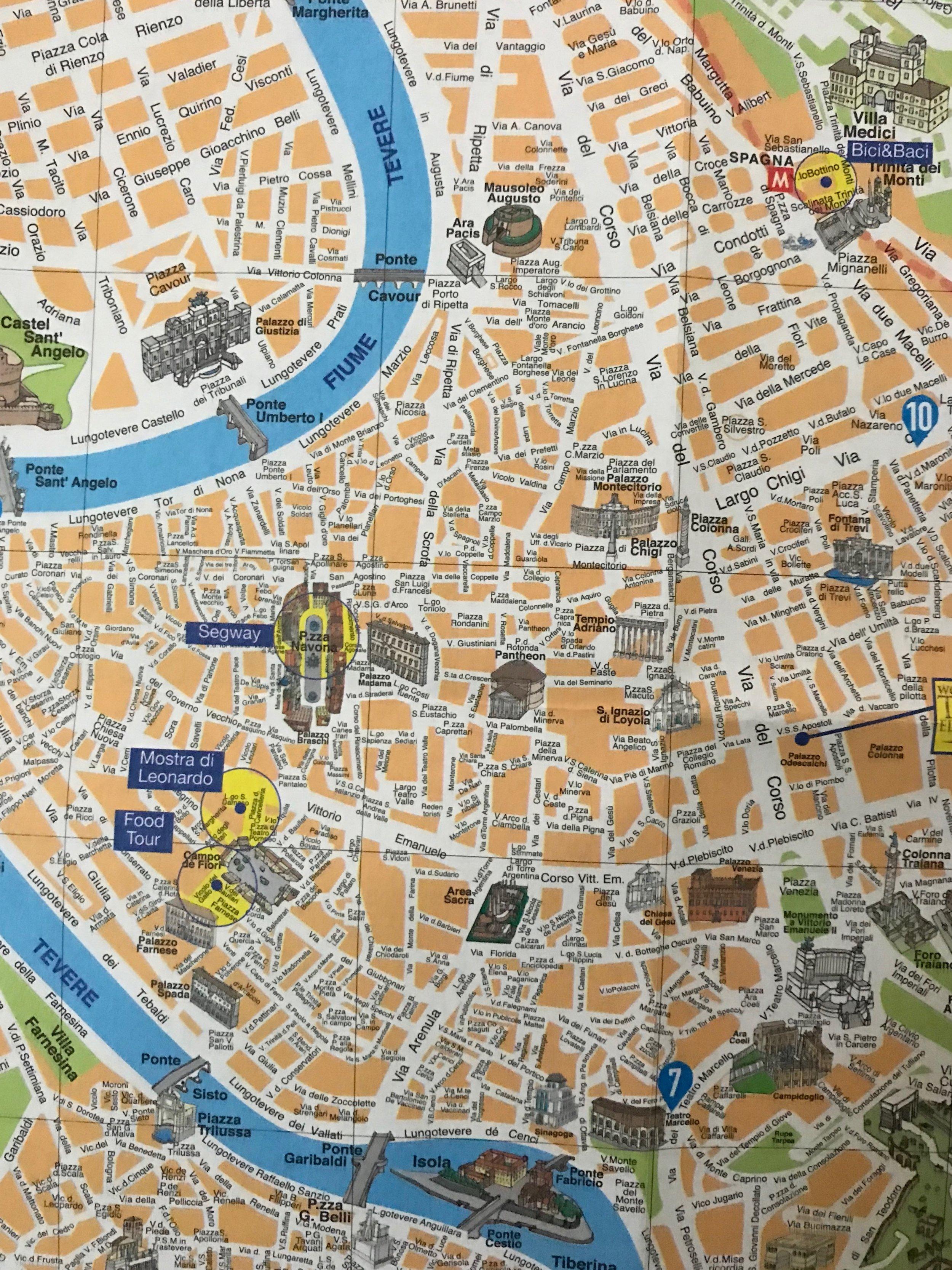 Tourist map of Rome