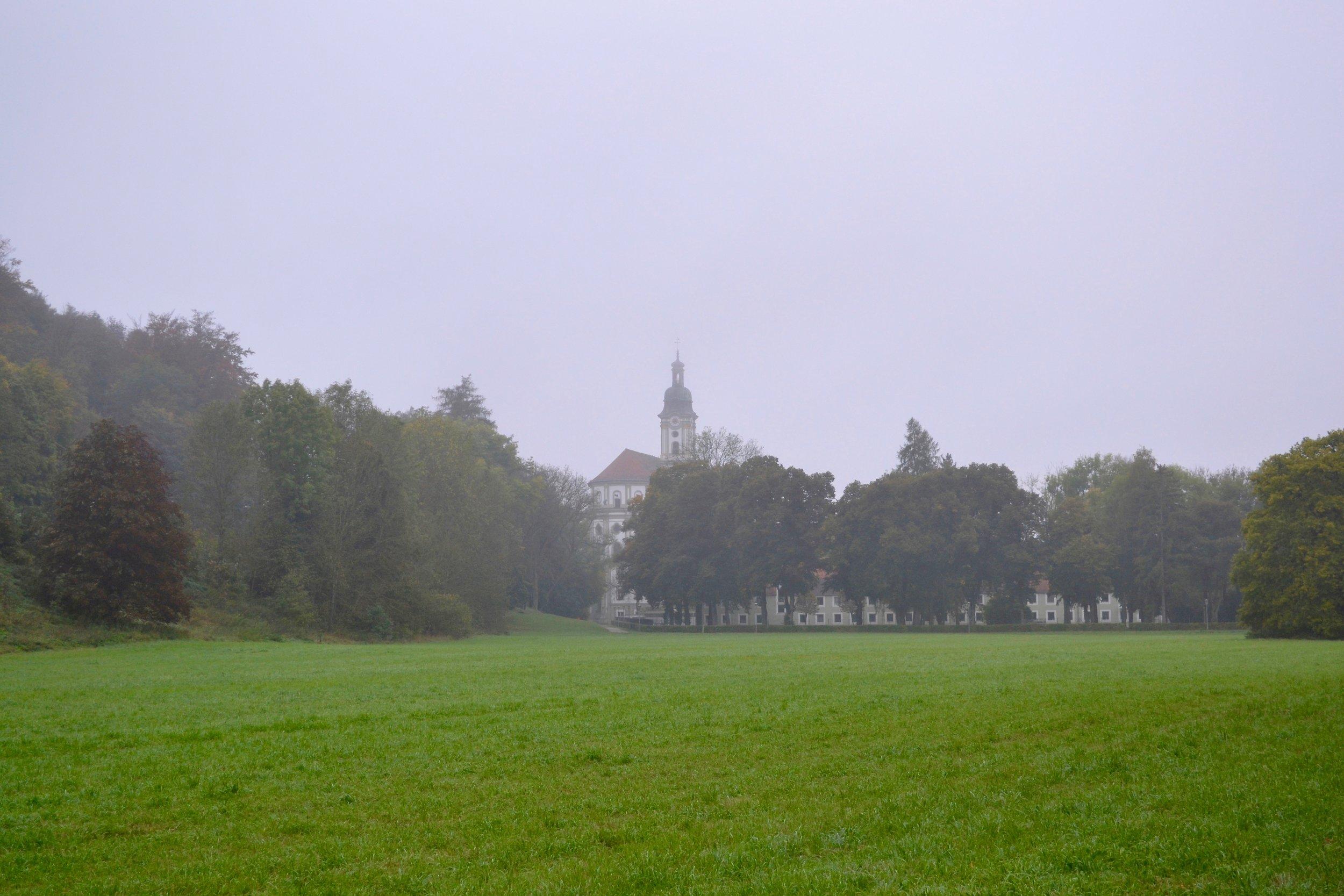 Fürstenfeld Abbey in the morning fog