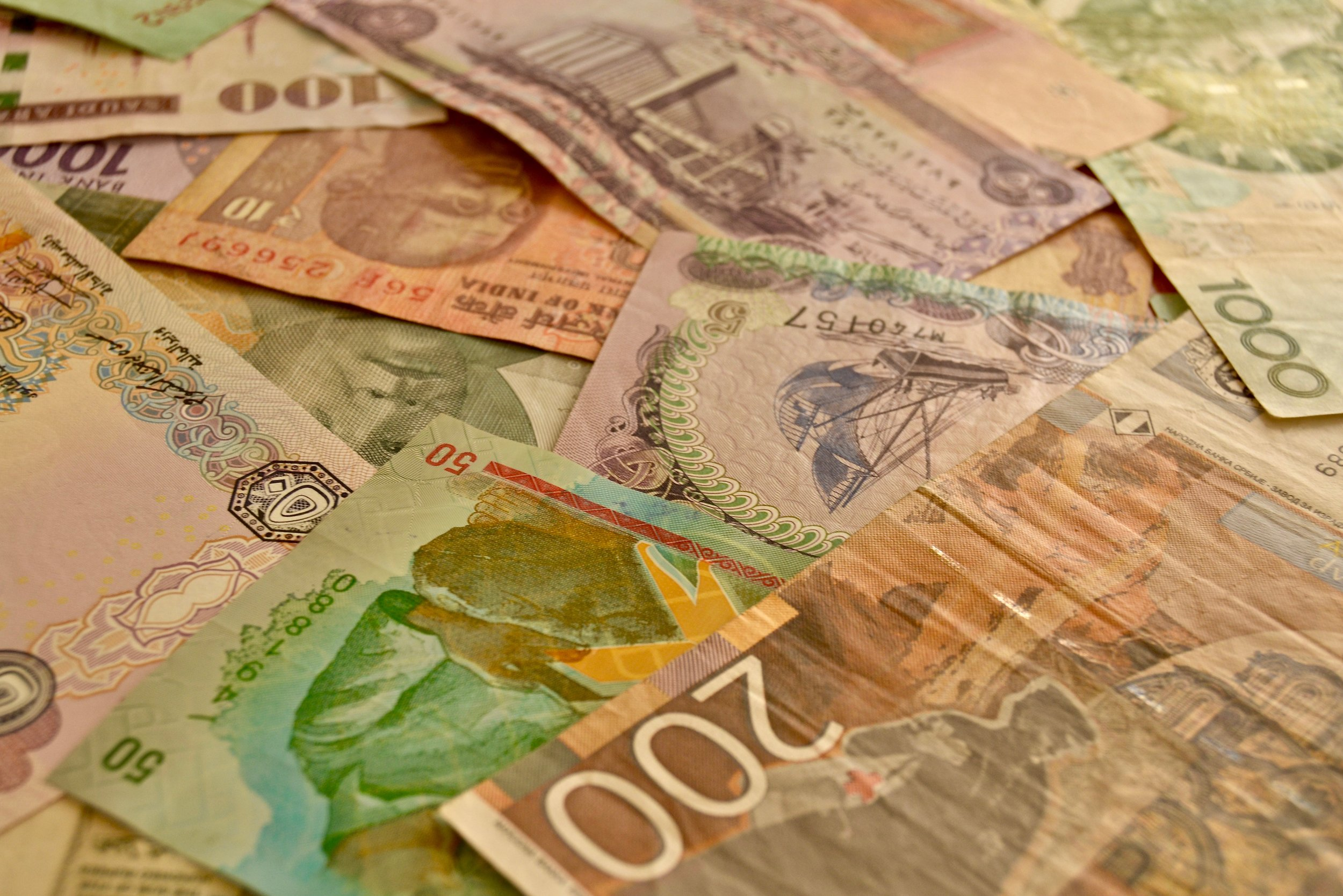 A mix of foreign banknotes