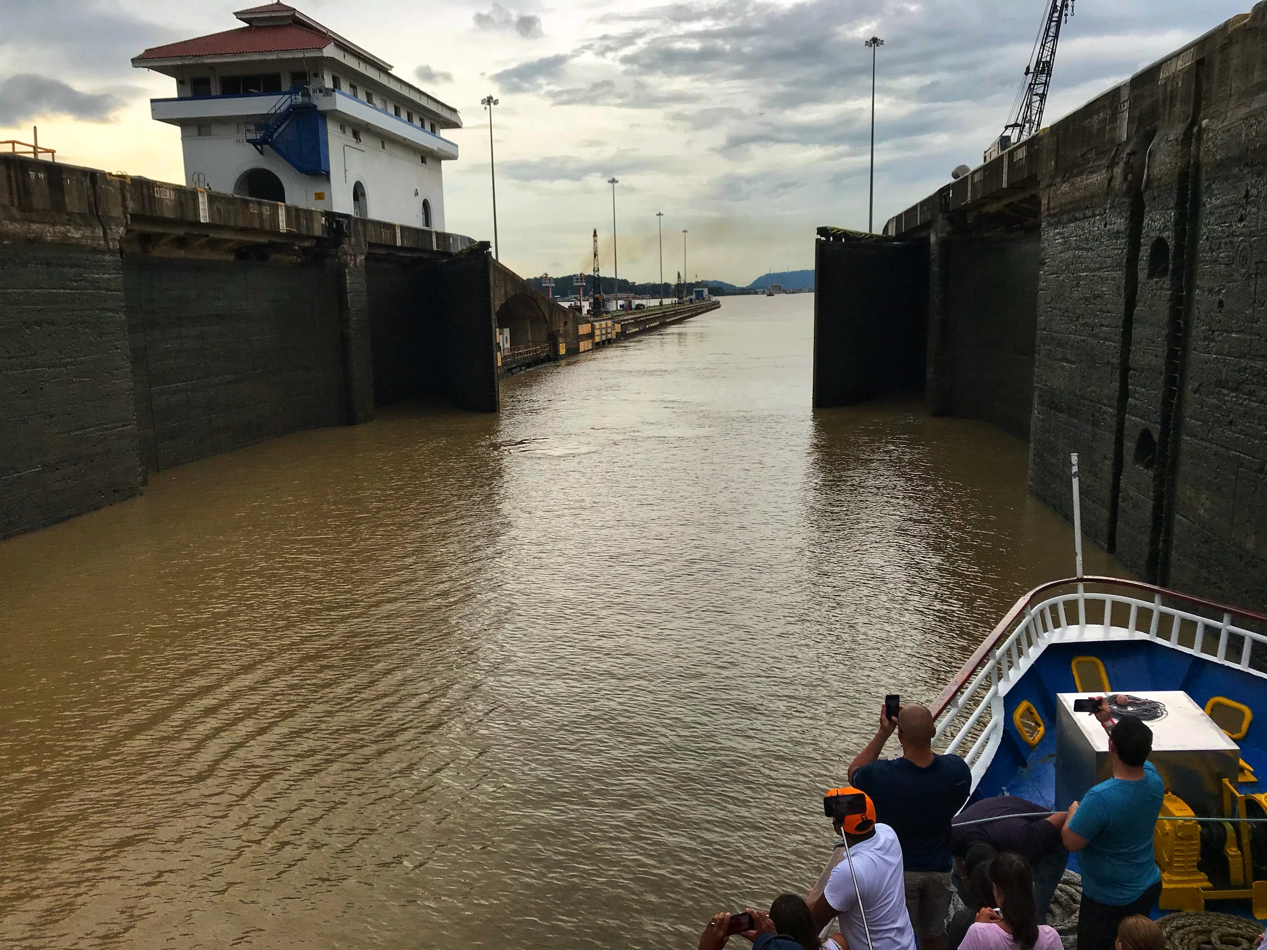 The opening of the Miraflores Locks