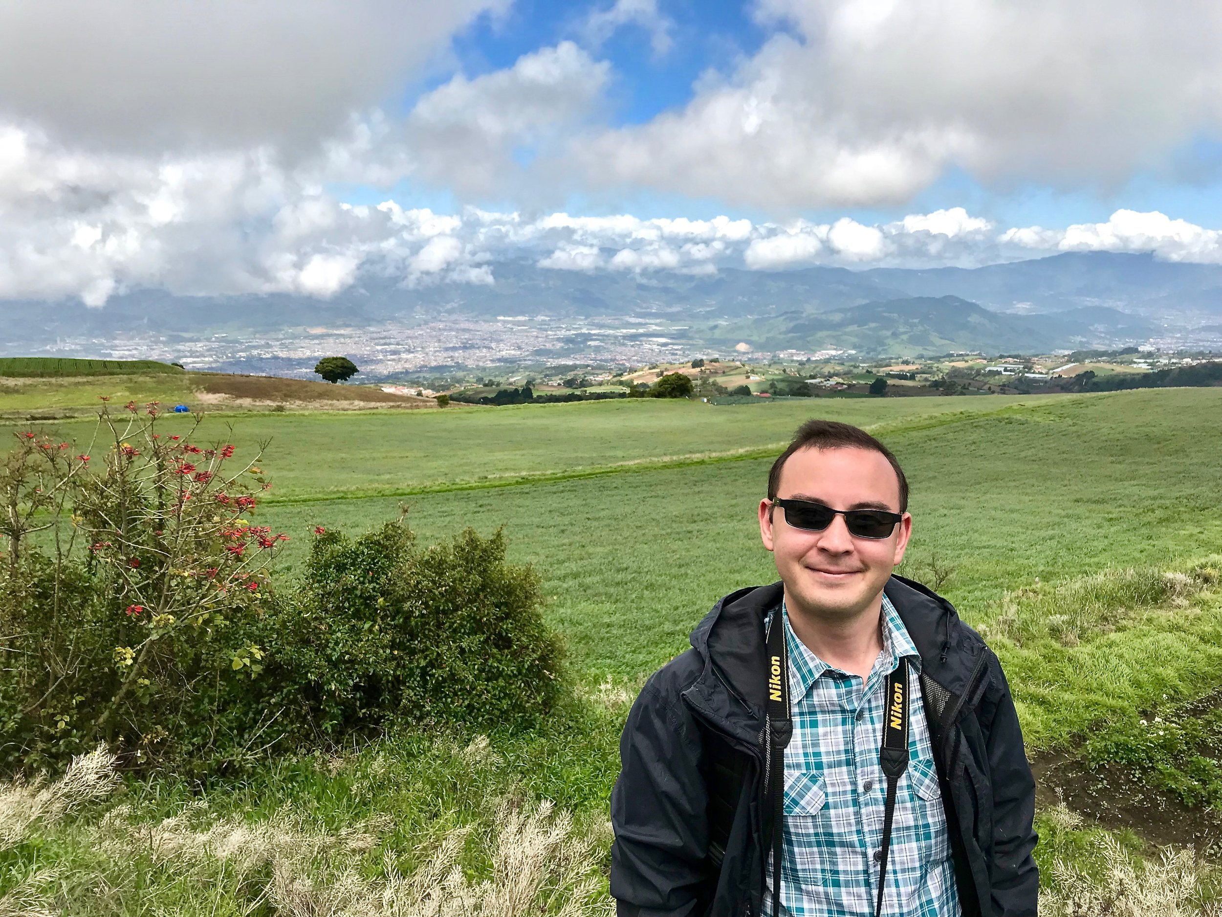 The author with a view of Cartago, Costa Rica