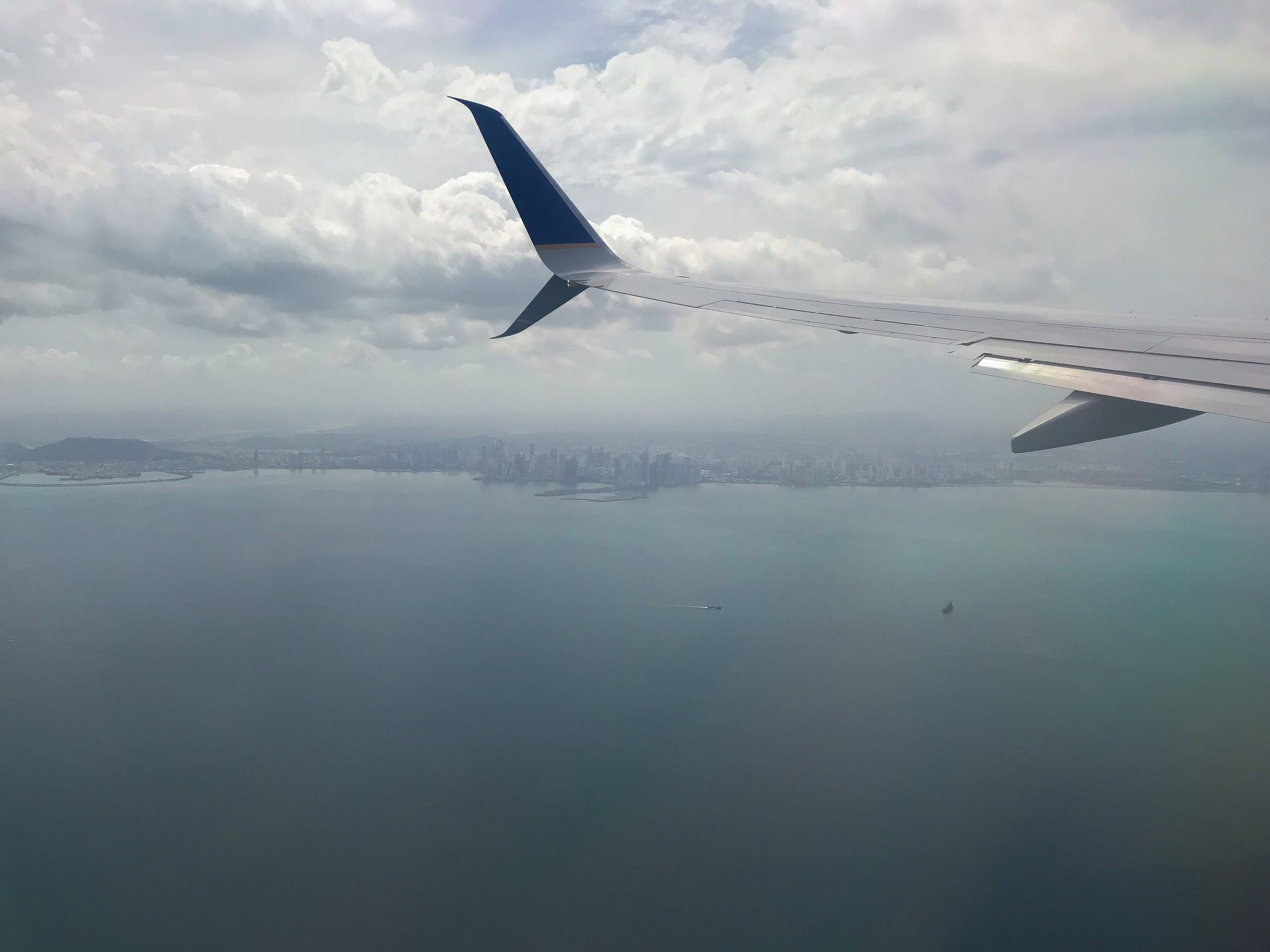 A view of the Panama City skyline from the wing