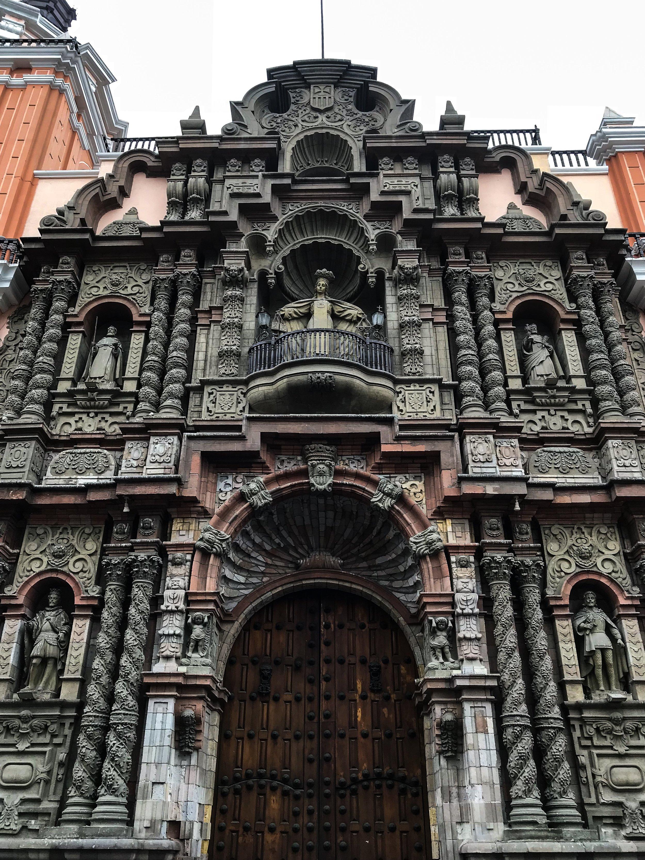 The highly-detailed façade