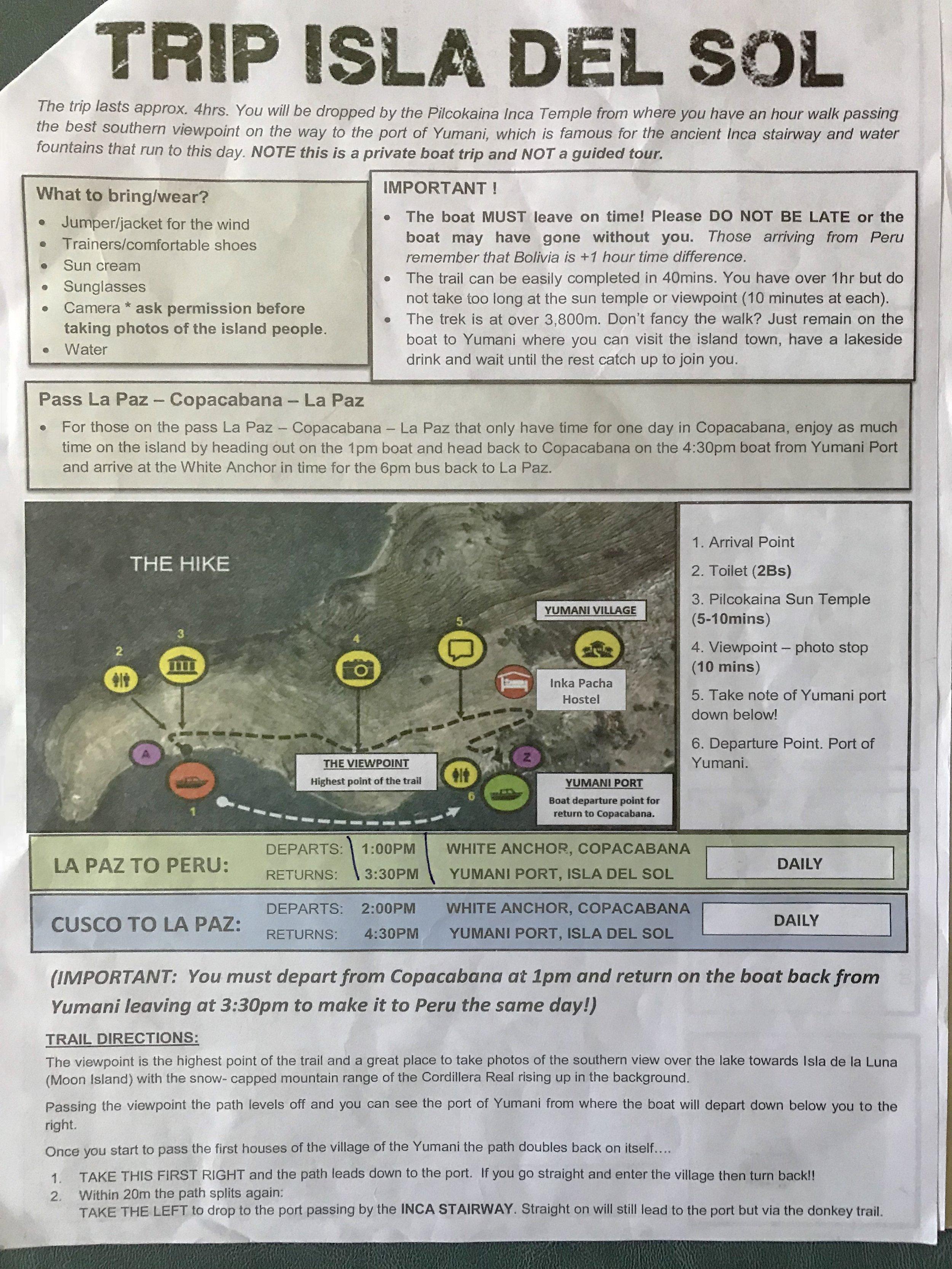 Isla del Sol Information