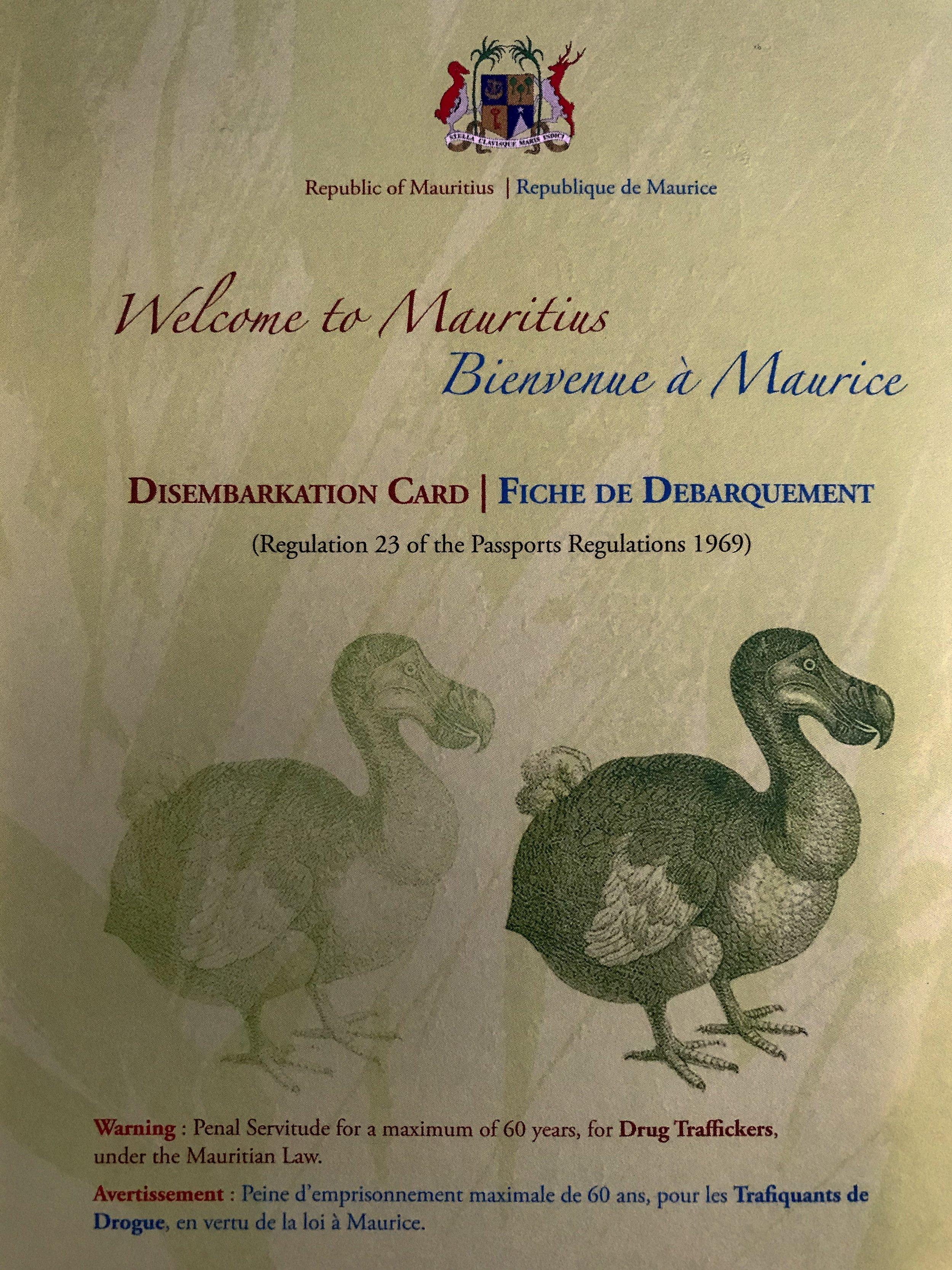 Mauritius Disembarkation Card