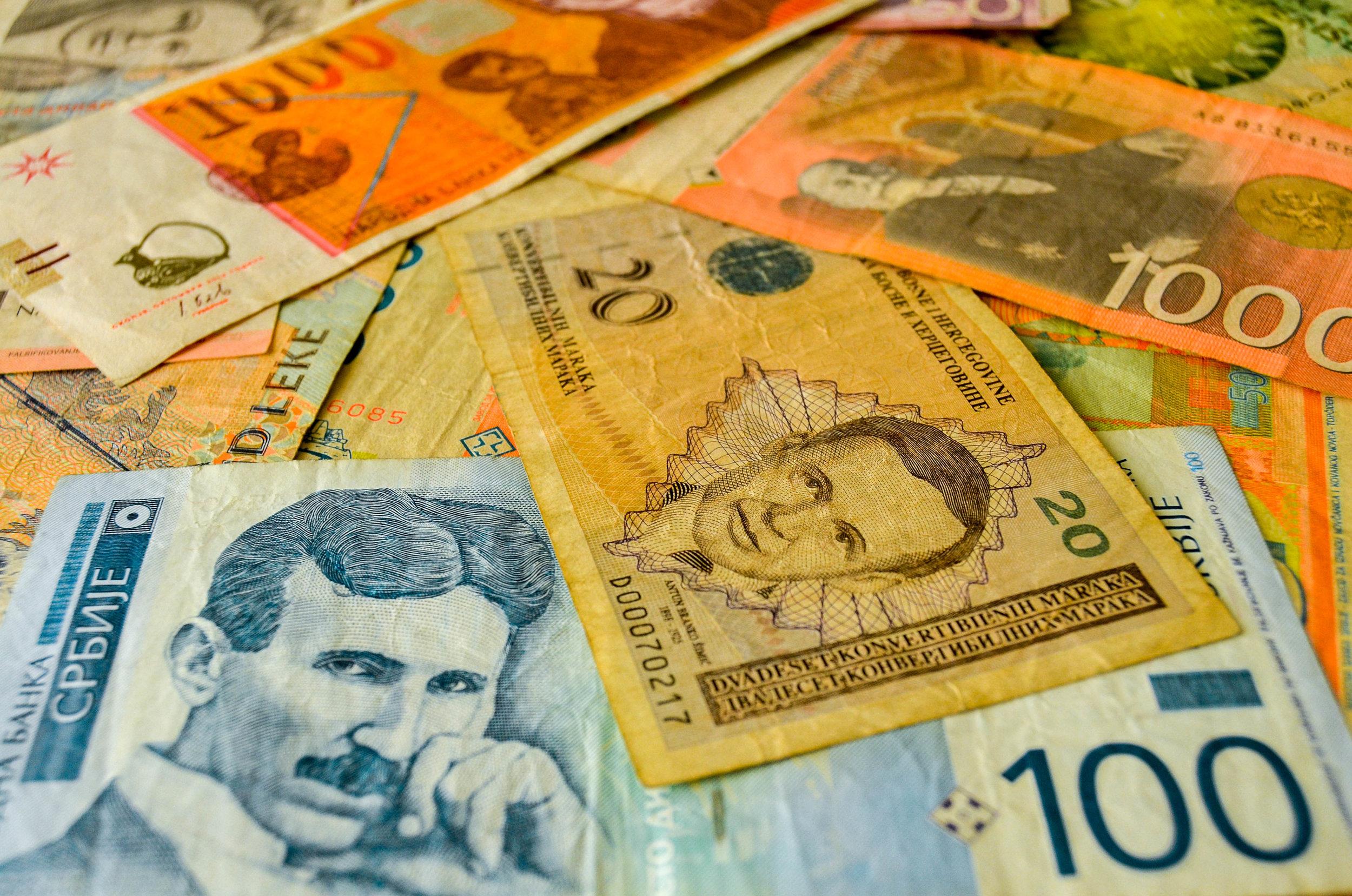 A mix of Balkan currencies