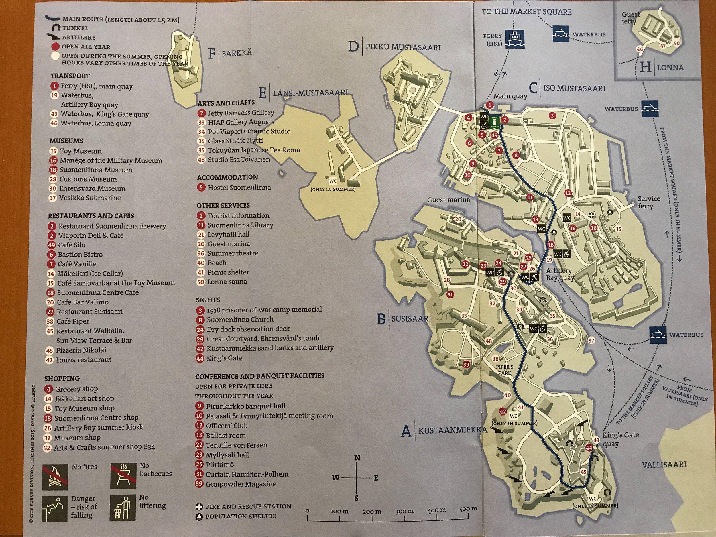 Map of Suomenlinna