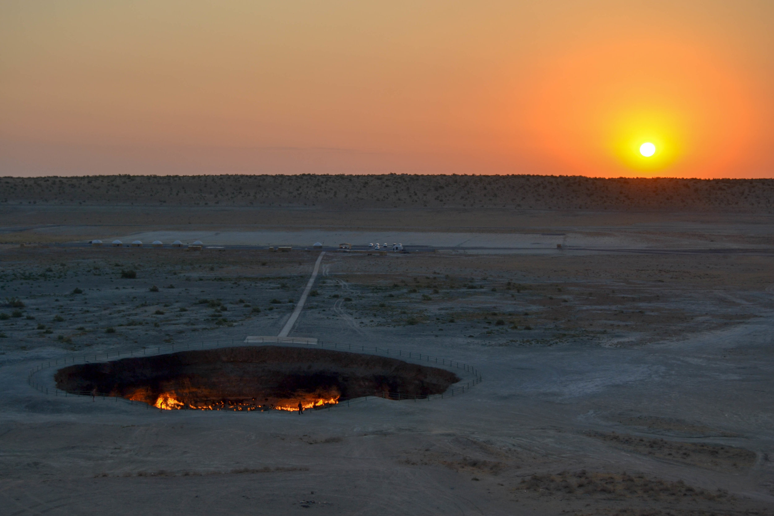 View of the Darvaza Gas Crater