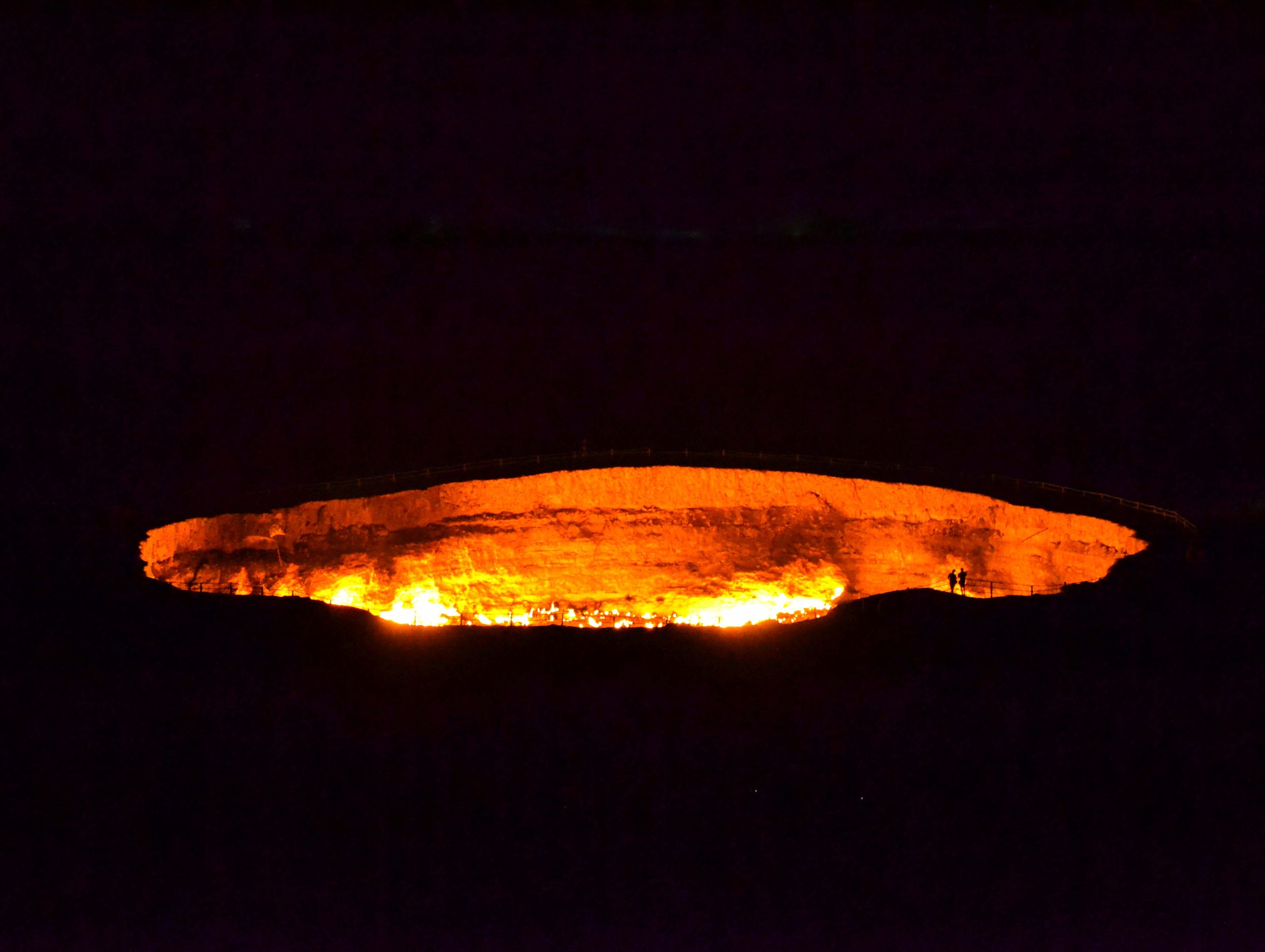 The Darvaza gas crater at night