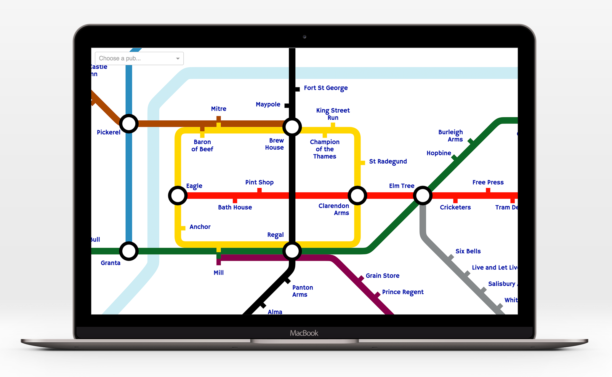 Cambridge Pub Map - Cambridge pubs in the style of the London Underground mapwww.pubmap.co.uk