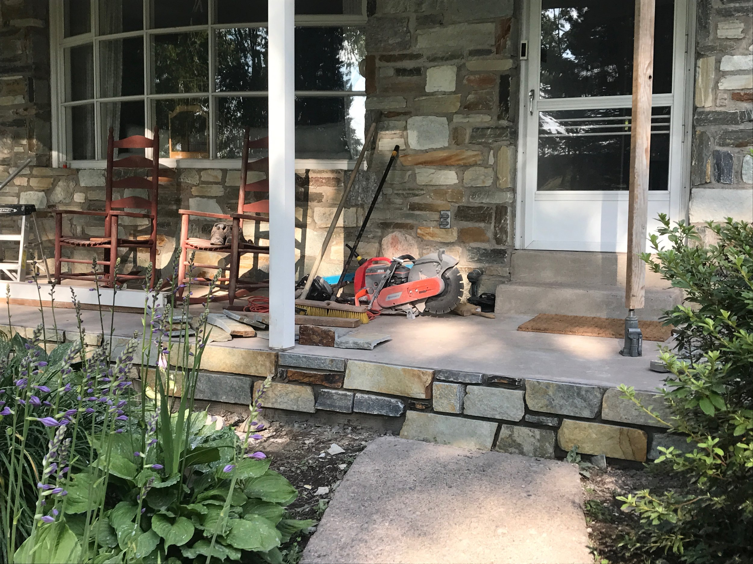 We were able to match the stone on the house with thin stone from   Delaware Quarries   .
