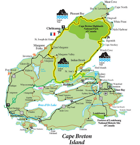 Cabot Trail (highlighted in yellow) - tour travels clockwise from Baddeck (toward bottom of route).